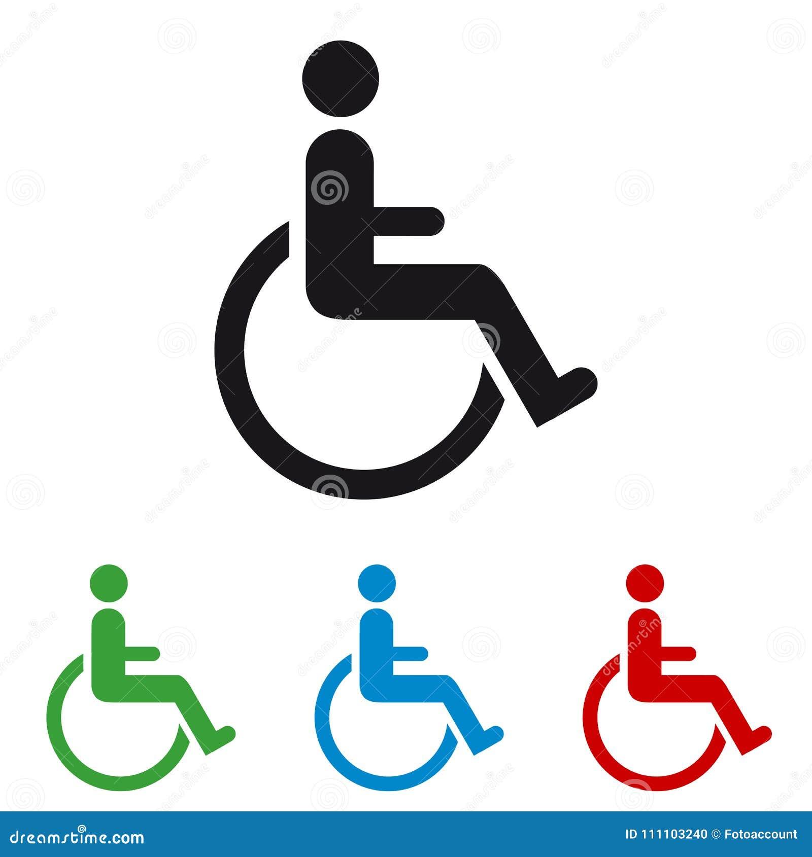Sedia a rotelle - icone Colourful di vettore - isolata su bianco