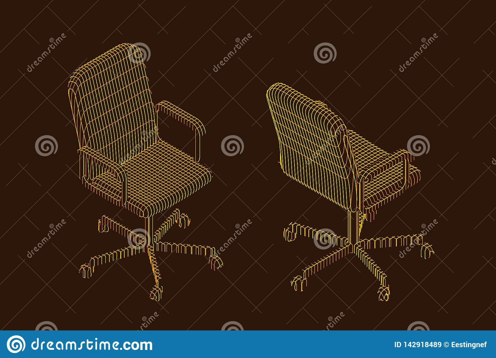Sedia a strisce dell ufficio illustrazione di contorno di vettore