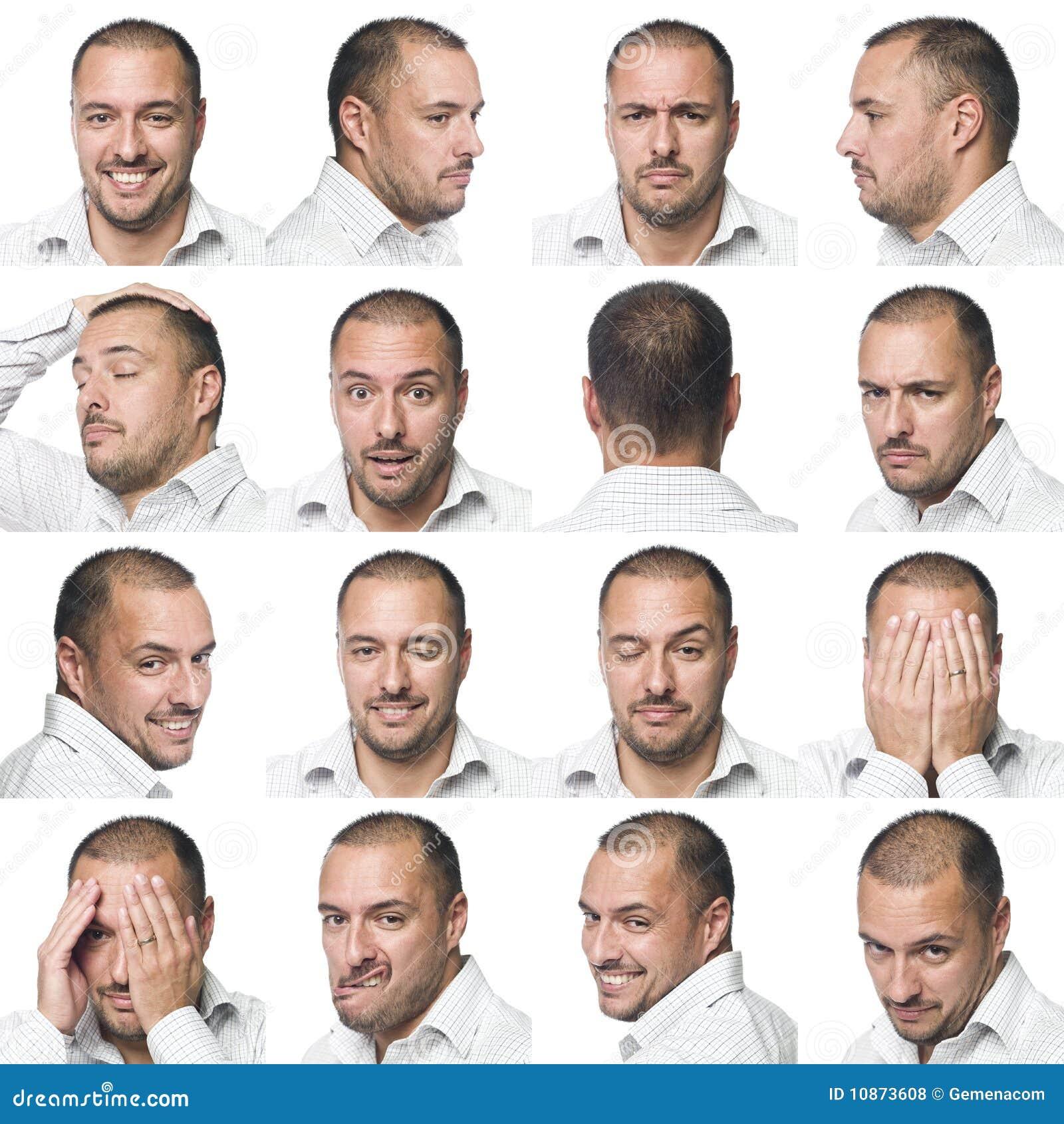Sedici espressioni facciali di un uomo