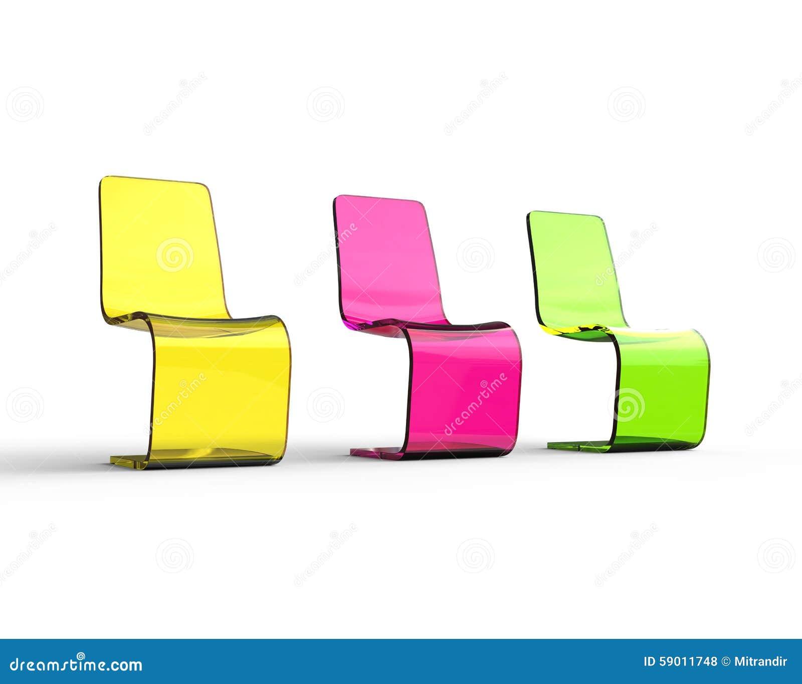 Sedie Verdi Di Plastica.Sedie Di Plastica Gialle Porpora E Verdi Futuristiche Fotografia