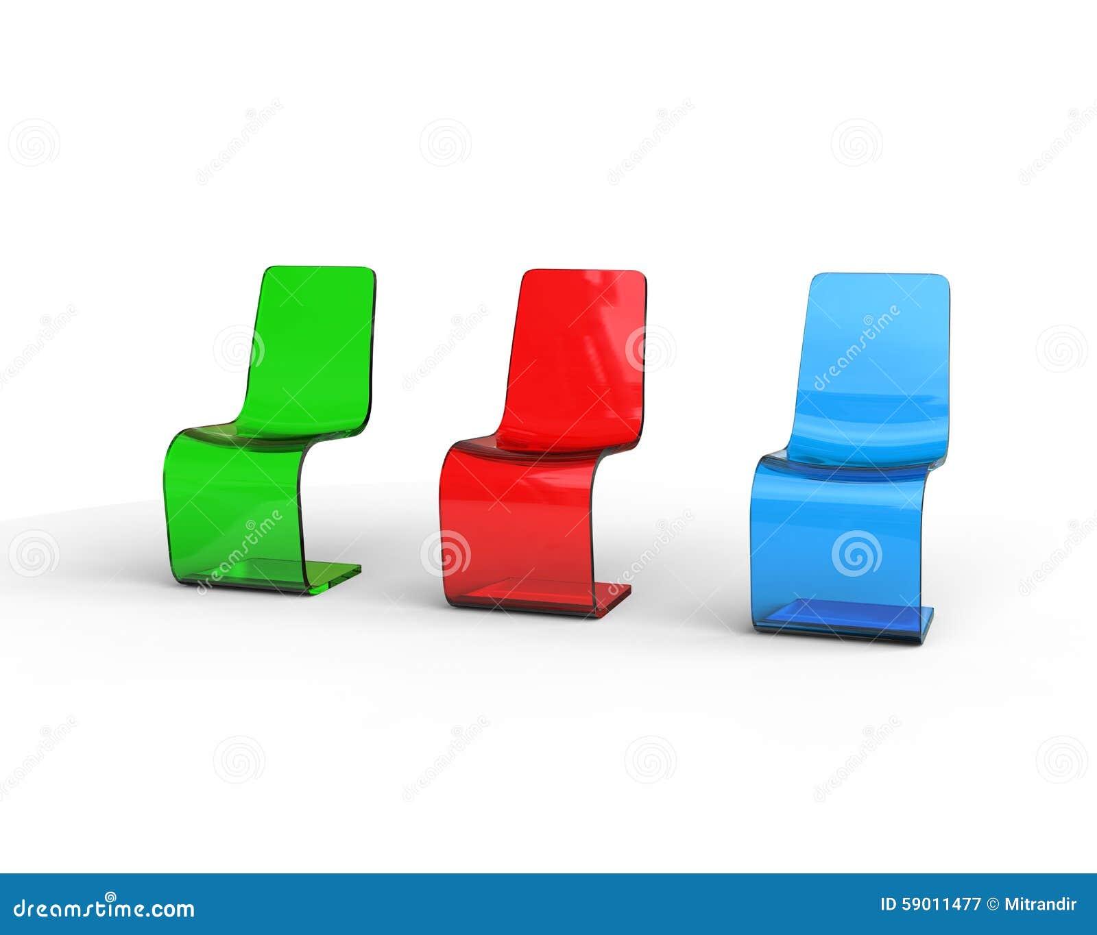 Sedie Verdi Di Plastica.Sedie Di Plastica Verdi Rosse E Blu Futuristiche Illustrazione Di