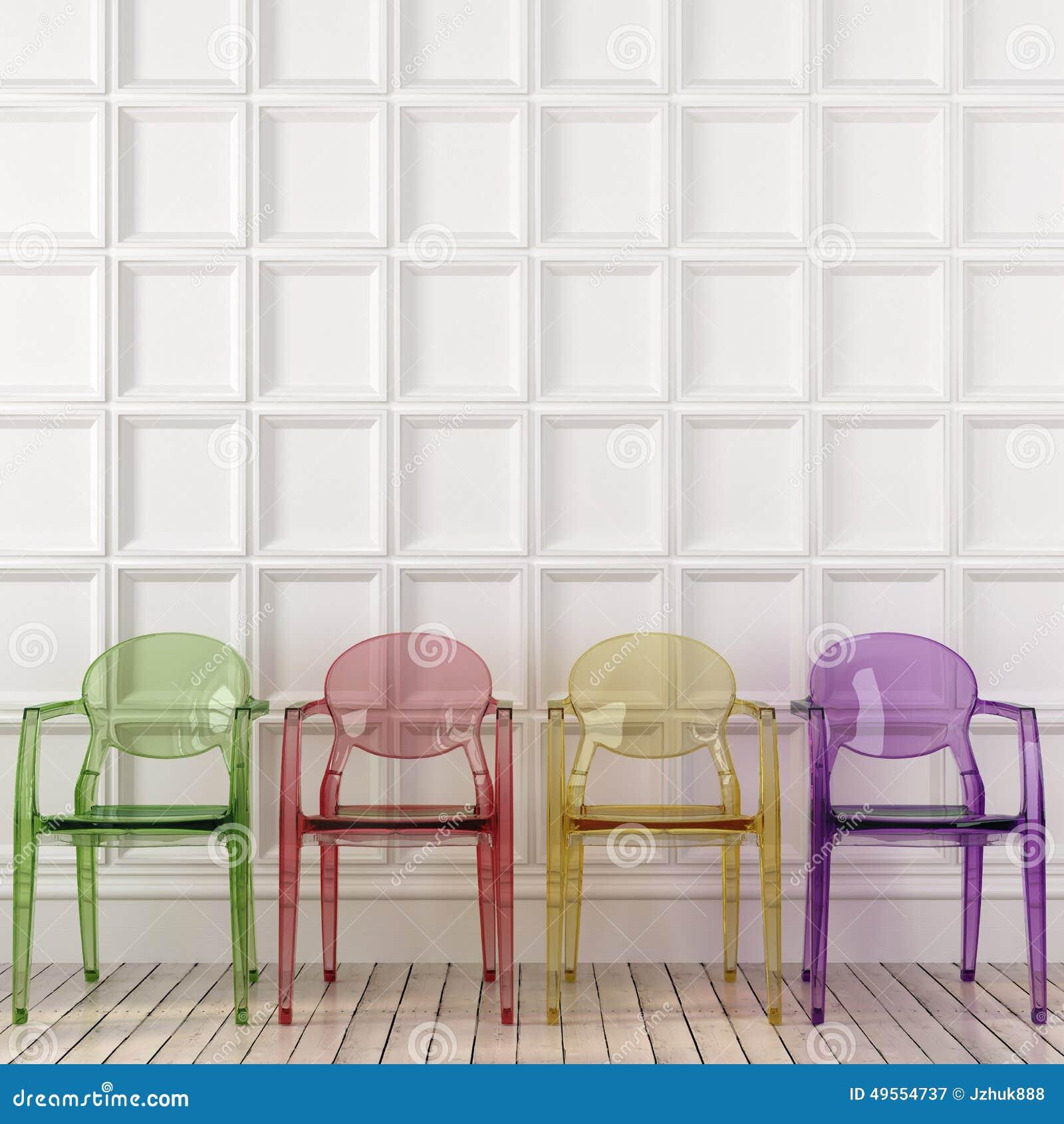 Sedie Trasparenti Colorate E Parete Bianca Immagine Stock - Immagine ...