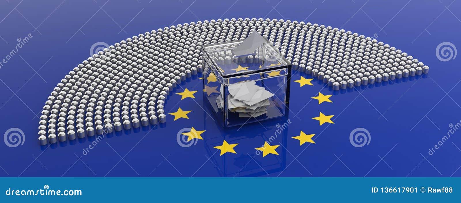 Sedili del Parlamento dell Unione Europea e una scatola di voto sul fondo della bandiera di UE illustrazione 3D