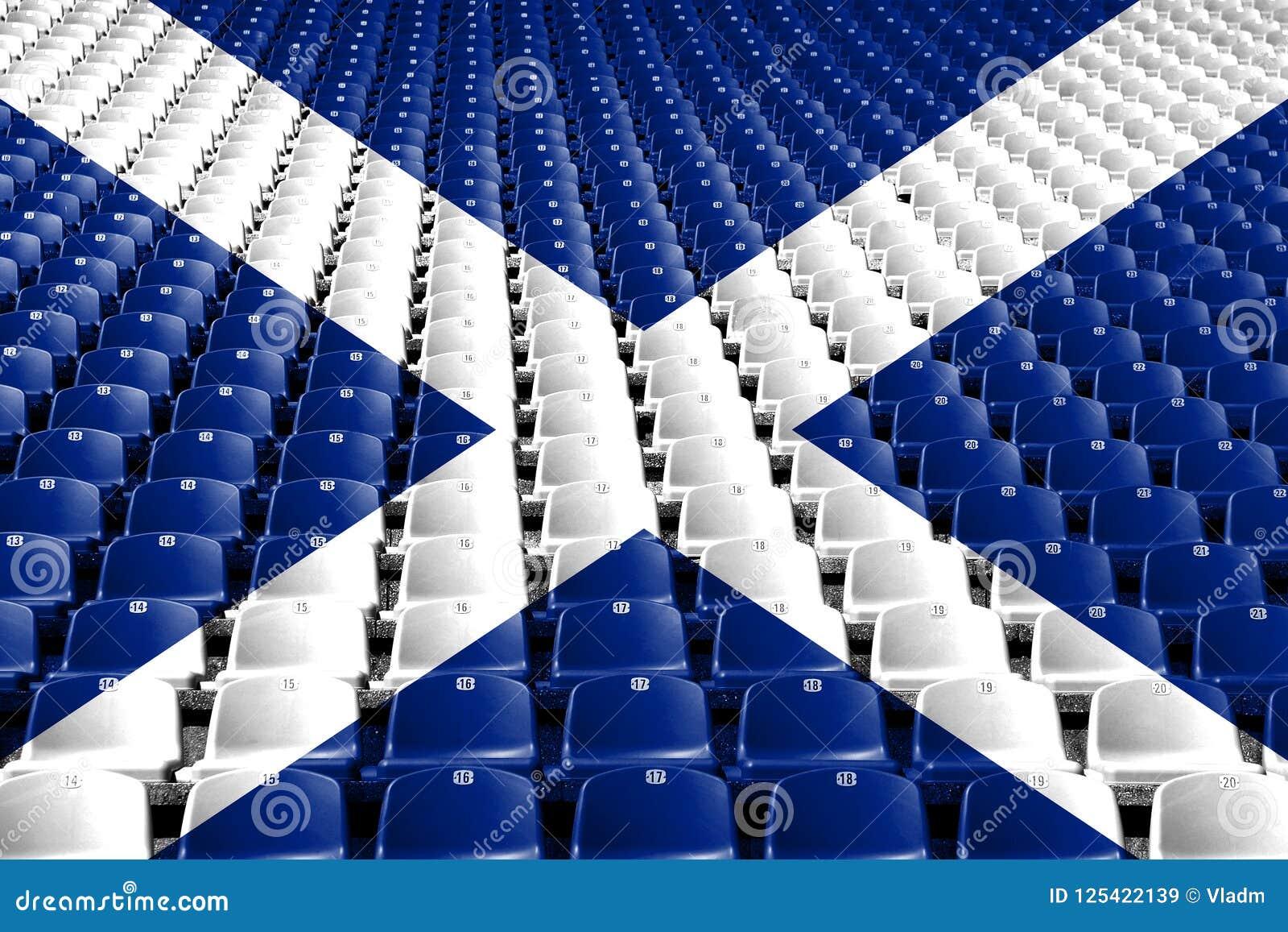 Sedili dello stadio della bandiera della Scozia Concetto della concorrenza di sport