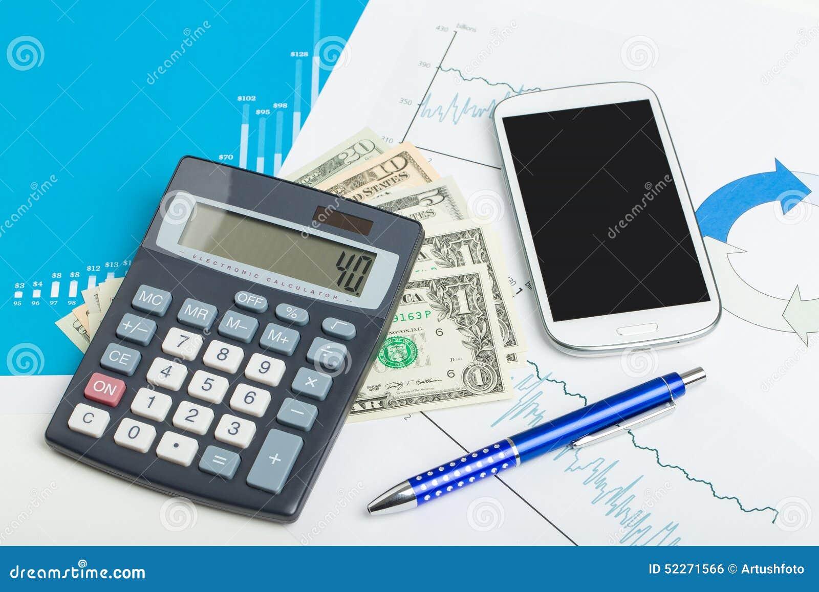 Sedlar Raknemaskin Och Mobiltelefon For Usa Dollarpengar