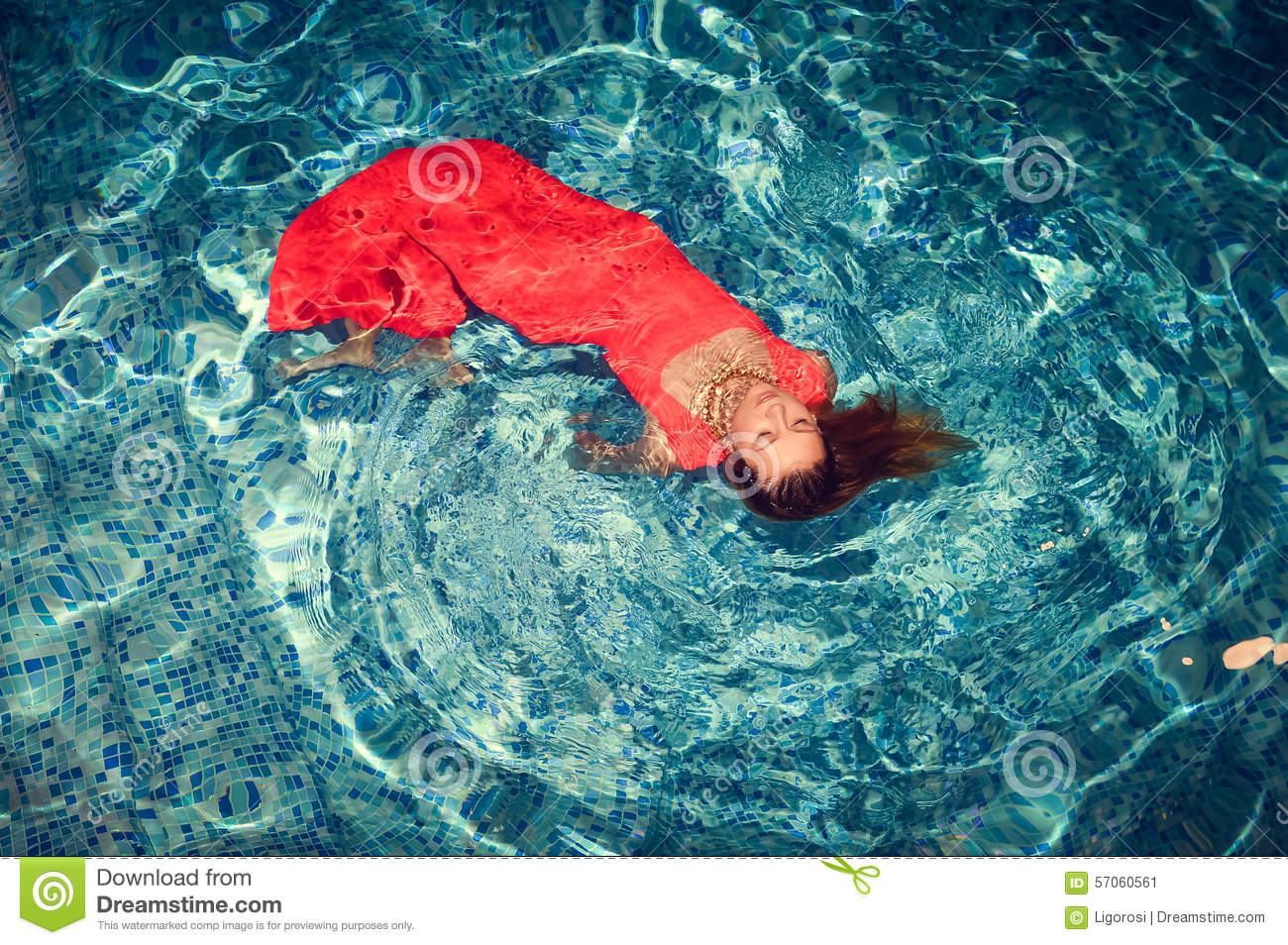 Seductive Female Floating On Swimming Pool In Stock Photo Image 57060561