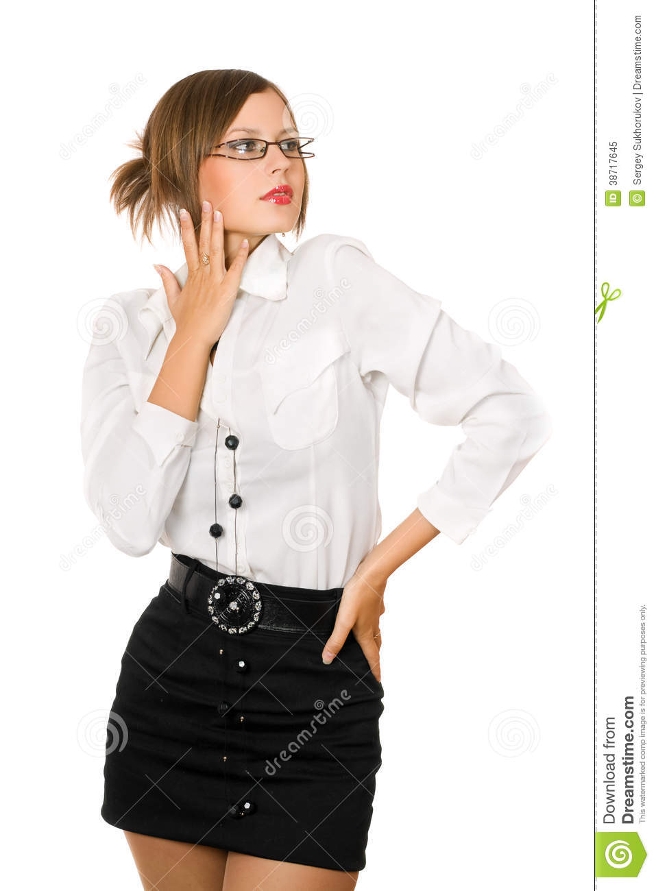 Seductive Girl In A Black Skirt And White Shirt Stock