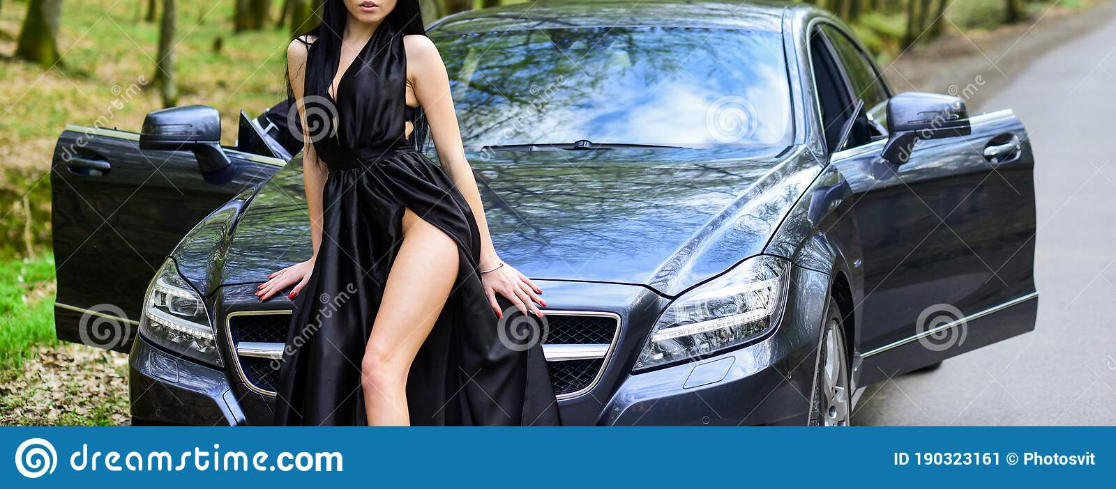 Seductive Pose. Sex In Car. Driver Girl. Beauty And ...