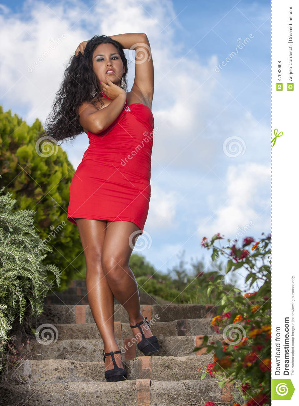Seductive Woman In Red Dress Stock Photo Image 47082608
