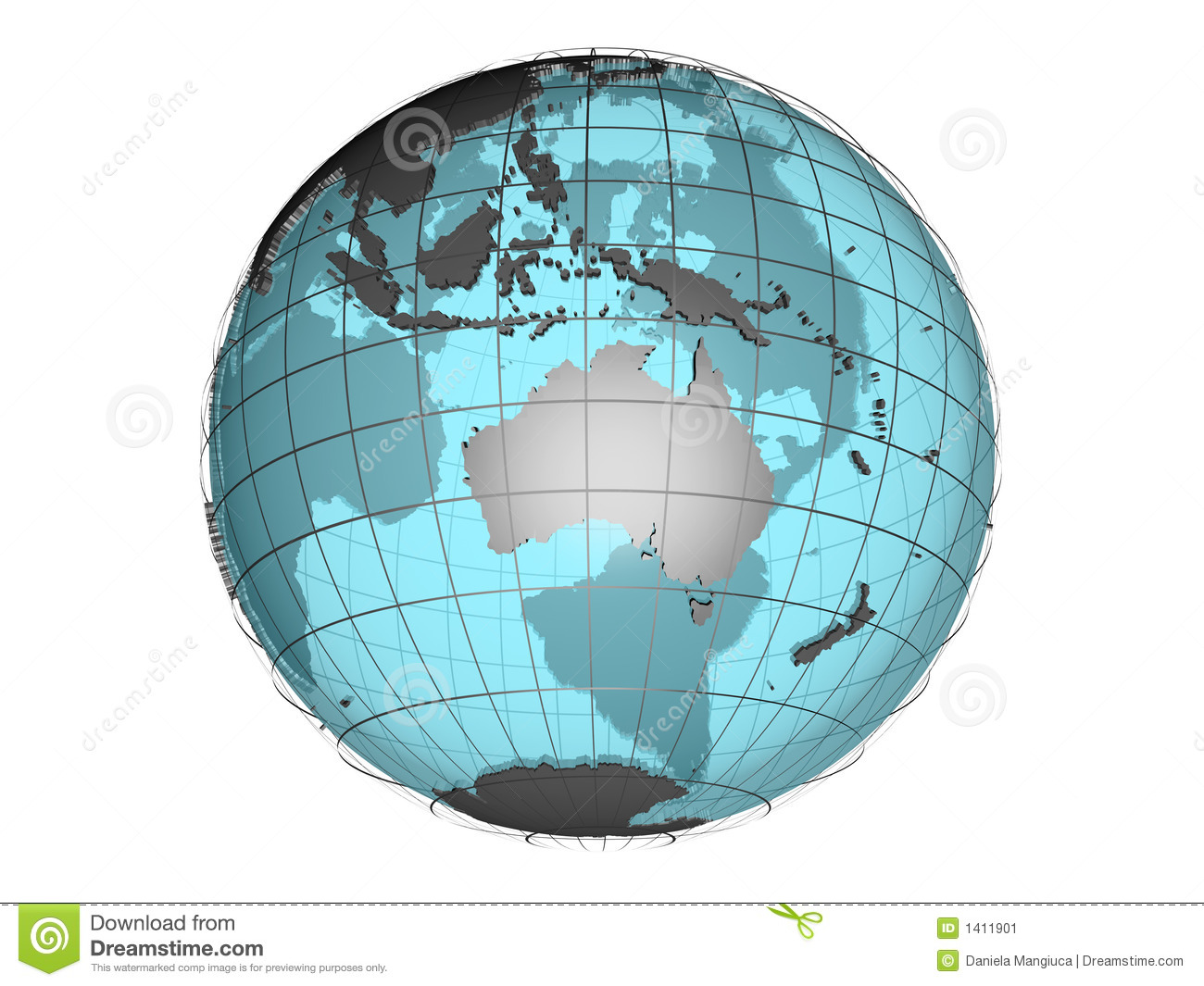 See-through 3d Globe Model Showing Australia And Oceania Stock ...