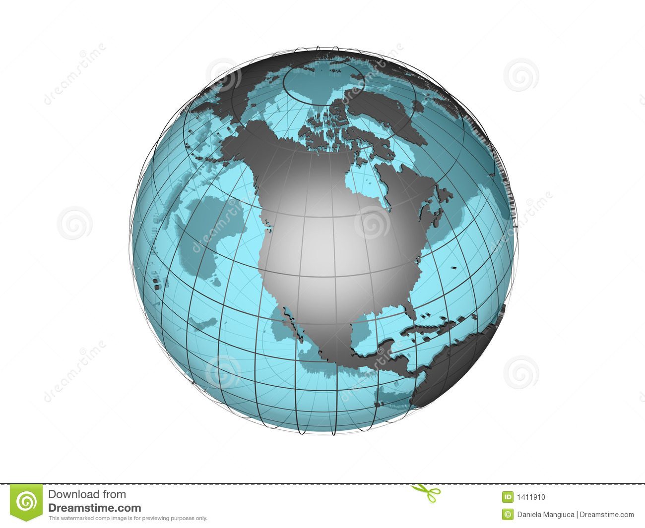 See-through 3d Globe Model Showing North America Stock Photo ...
