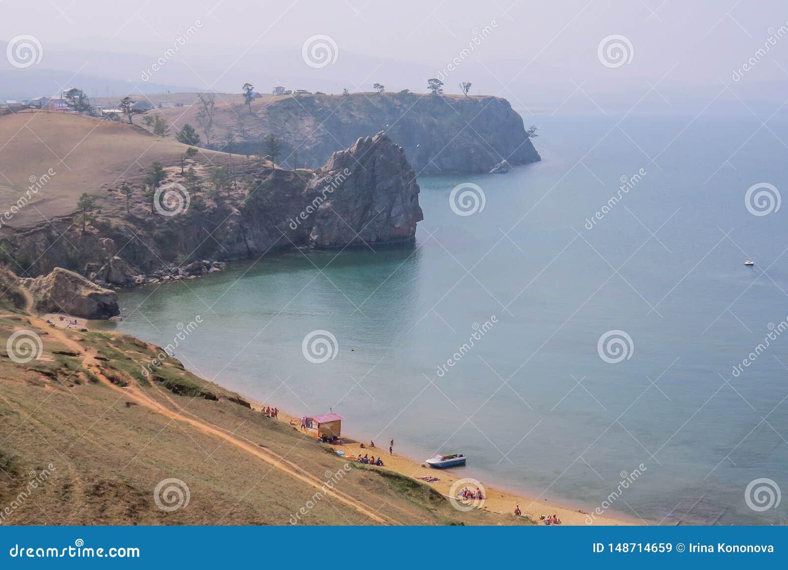 See Baikal Olkhon Insel Dorf Khuzhir Kleiner Strand