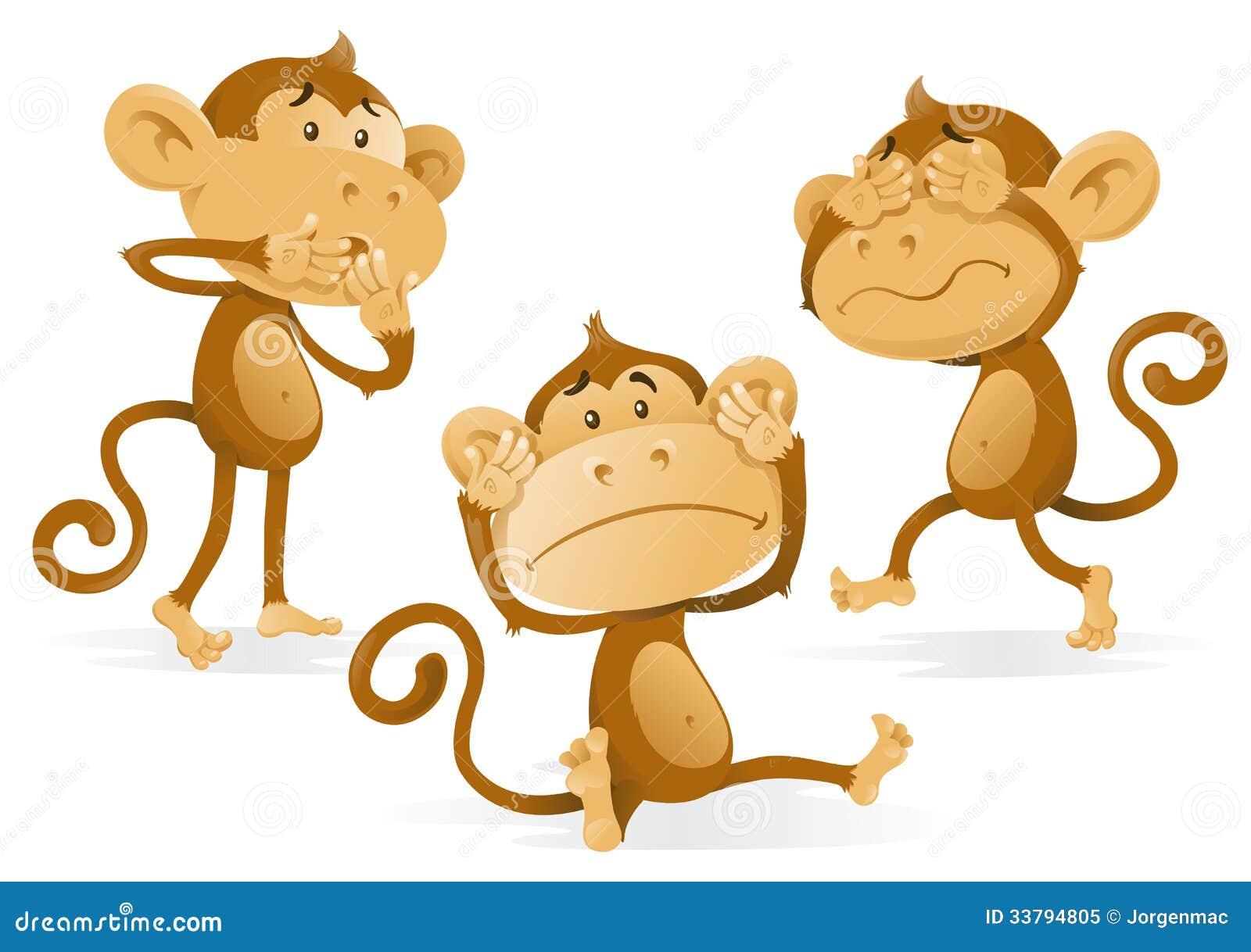 See Hear Speak No Evil Monkeys Stock Vector Image 33794805