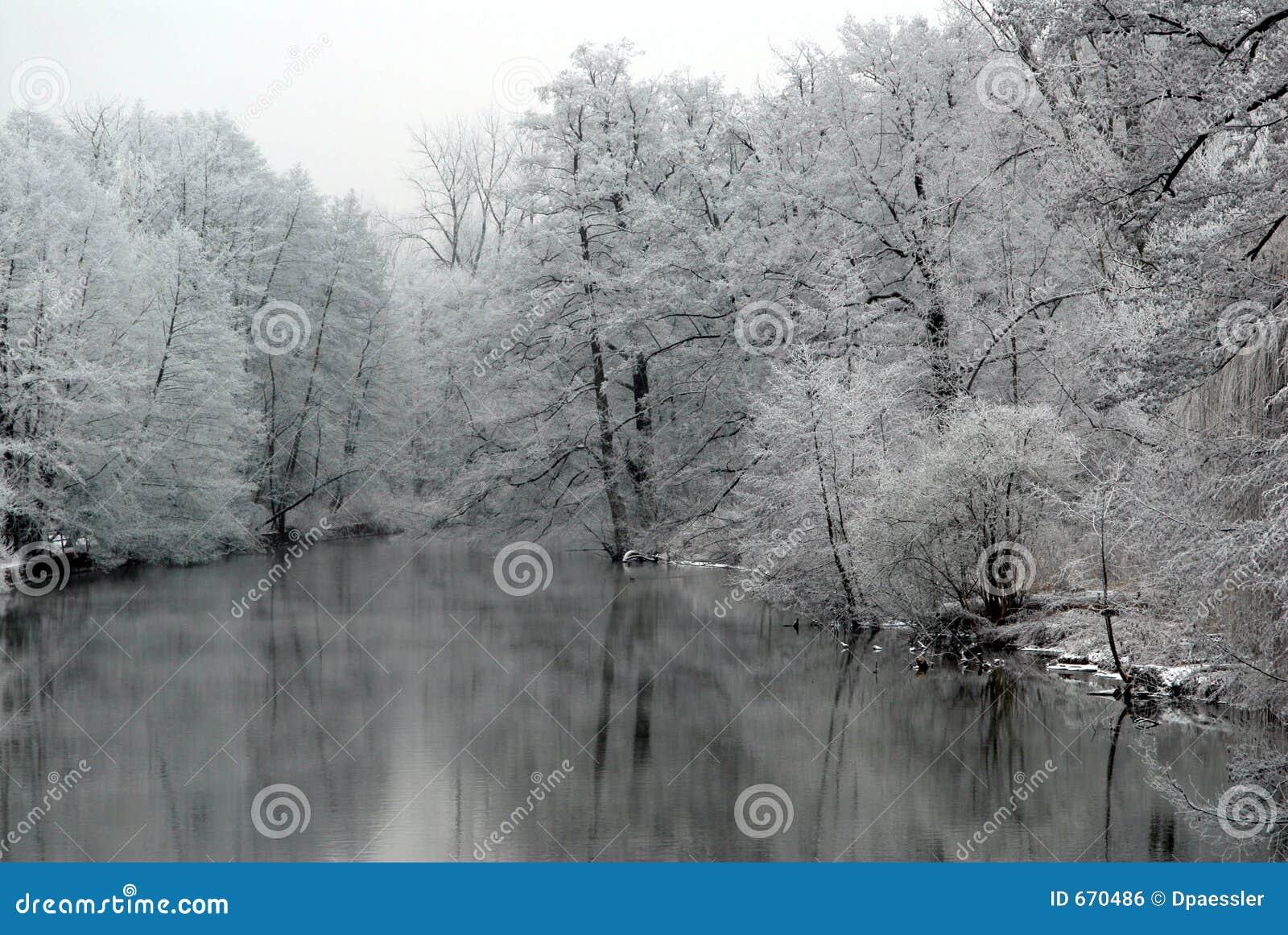 See mit Schnee deckte Bäume ab