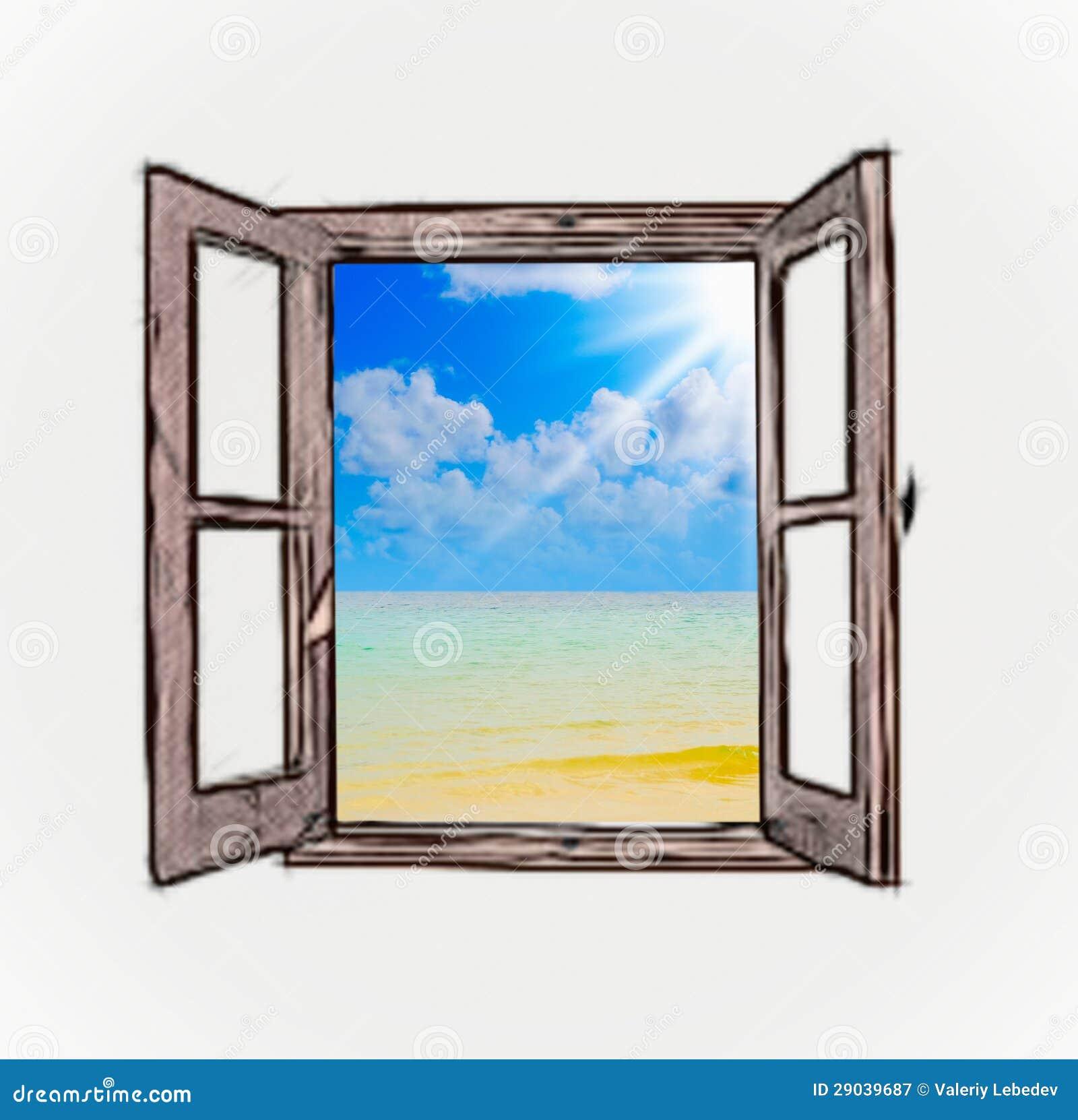 Seeansicht Durch Ein Offenes Fenster Stock Abbildung - Illustration: 29039687