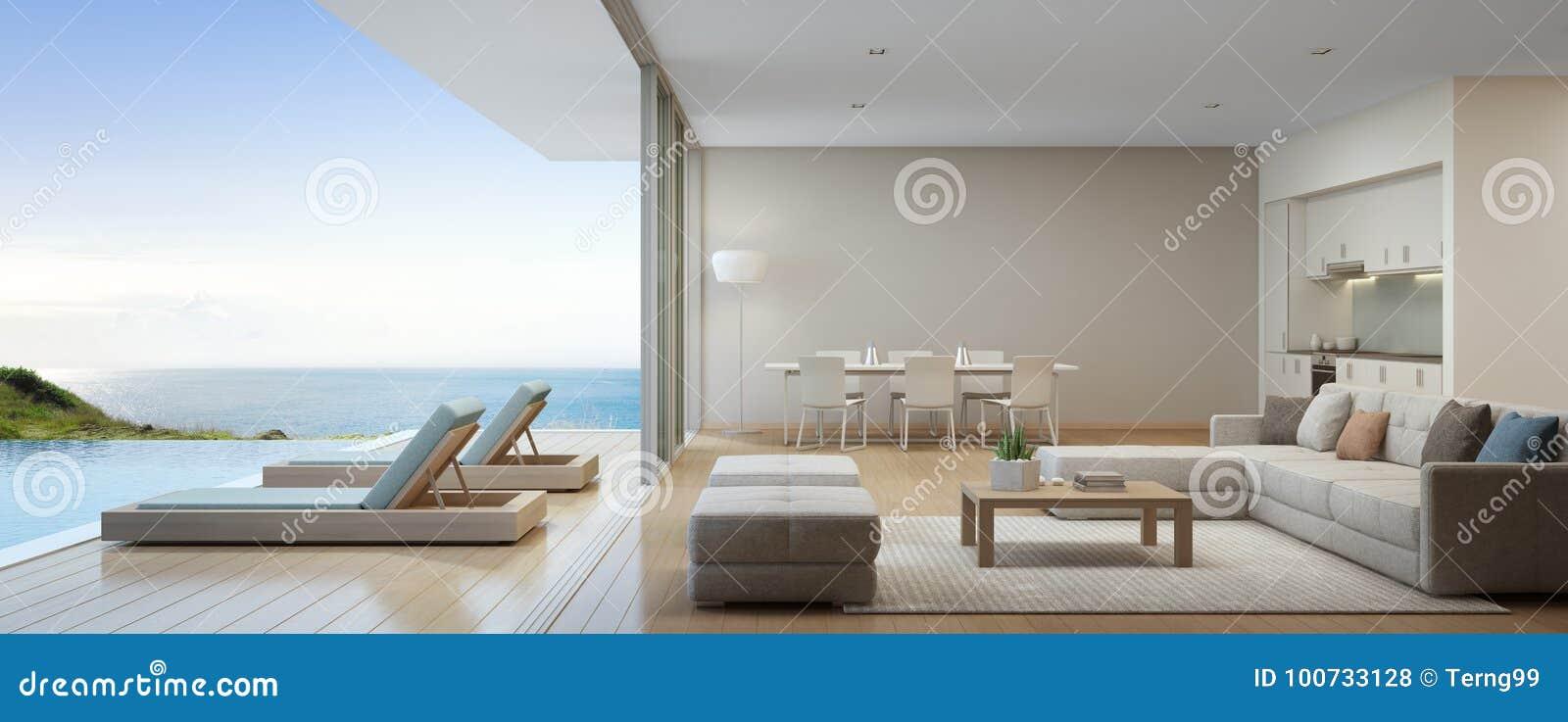 Seeansichtküche, -c$speisen Und -wohnzimmer Des ...