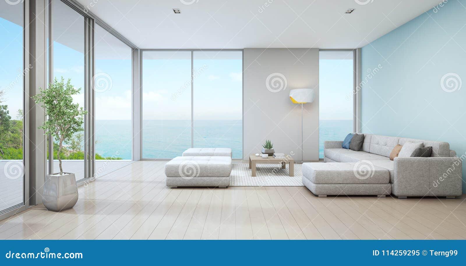 Download Seeansichtwohnzimmer Des Luxusstrandhauses Mit Zimmerpflanze Nahe  Glastür  Und Bretterbodenplattform Stock Abbildung   Illustration Von