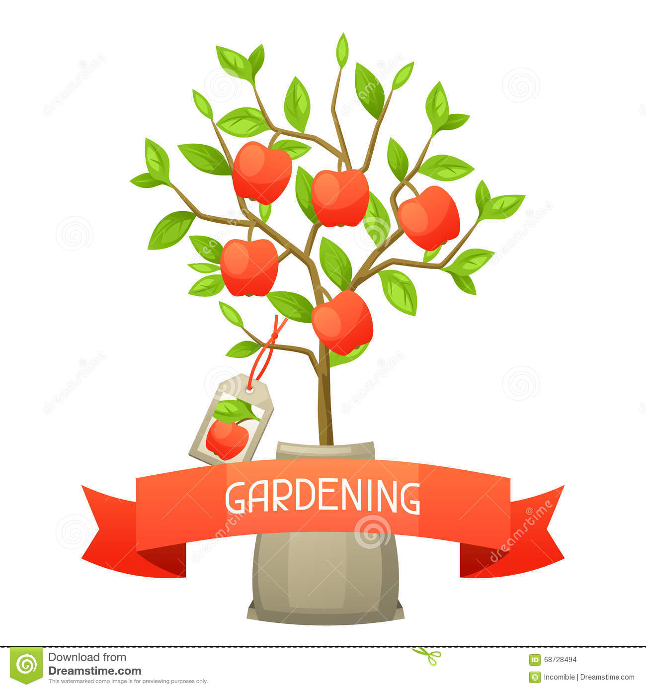 seedling of apple tree tag illustration for agricultural illustration for agricultural booklets flyers garden stock images