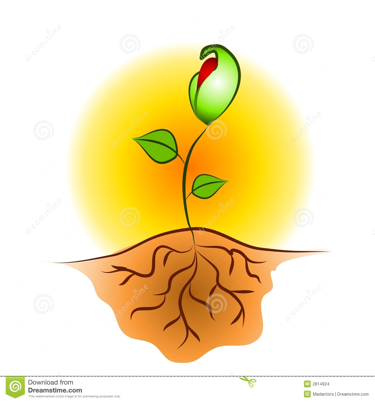 clip art illustration of a young seedling plant growing against a ...