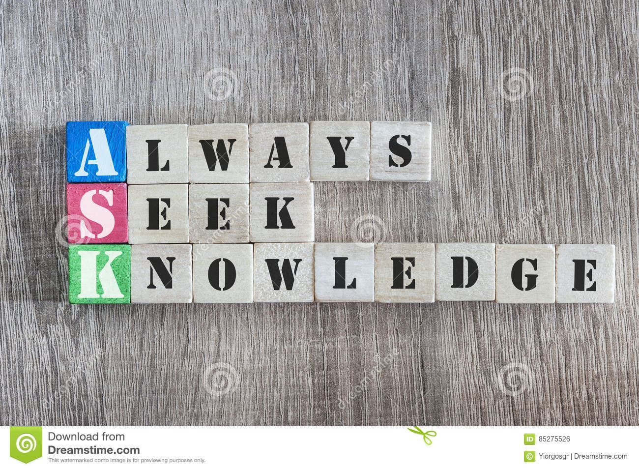 Always Seek Knowledge stock photo. Image of note, quote ...