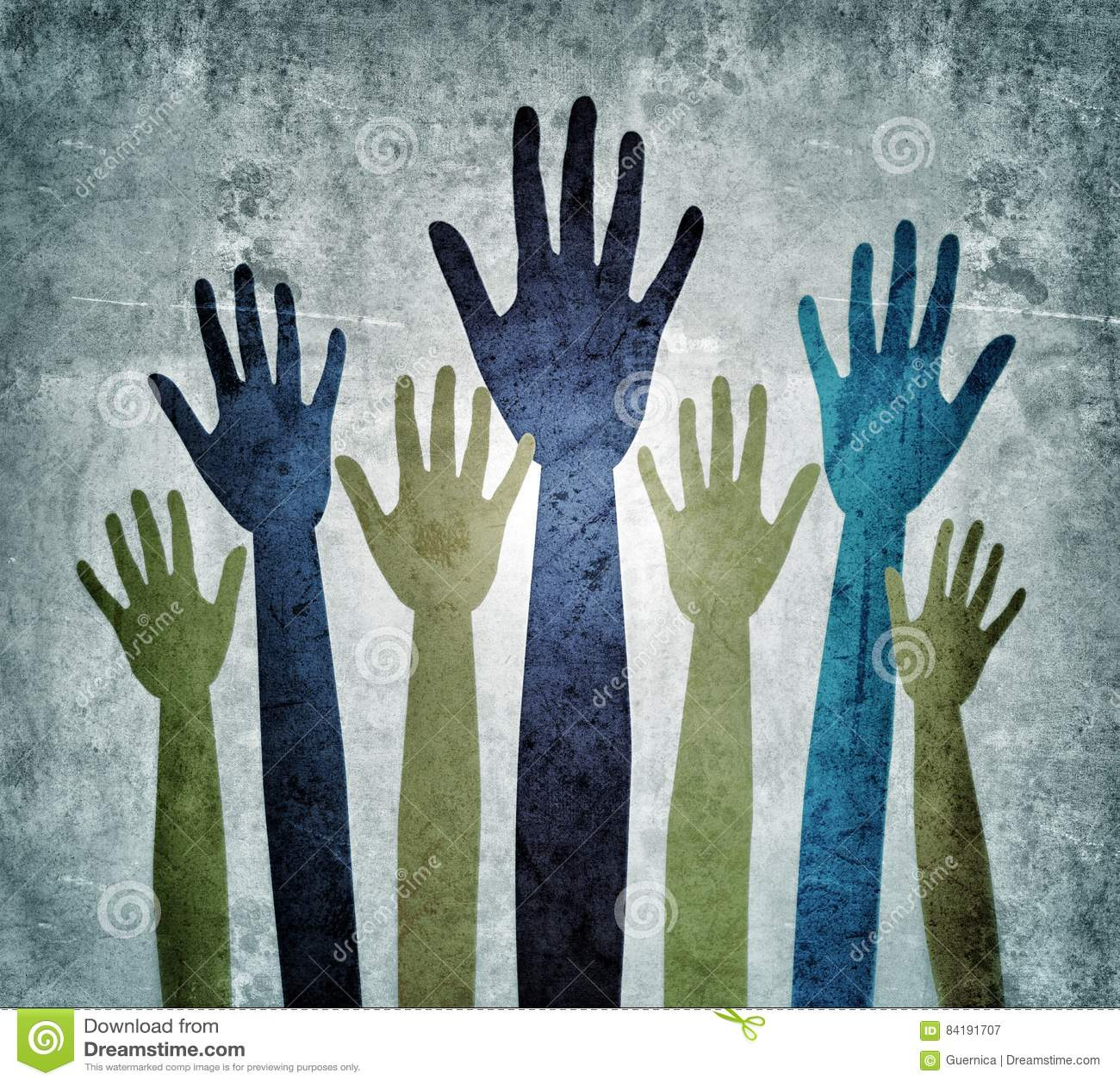 Seeking help Hands reaching out