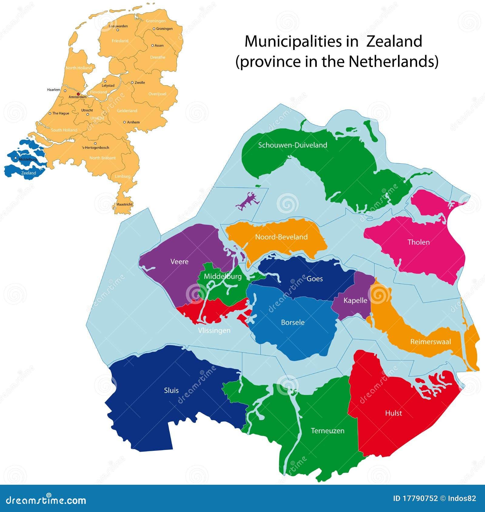 Zeeland Karte Niederlande.Seeland Provinz Der Niederlande Vektor Abbildung Illustration