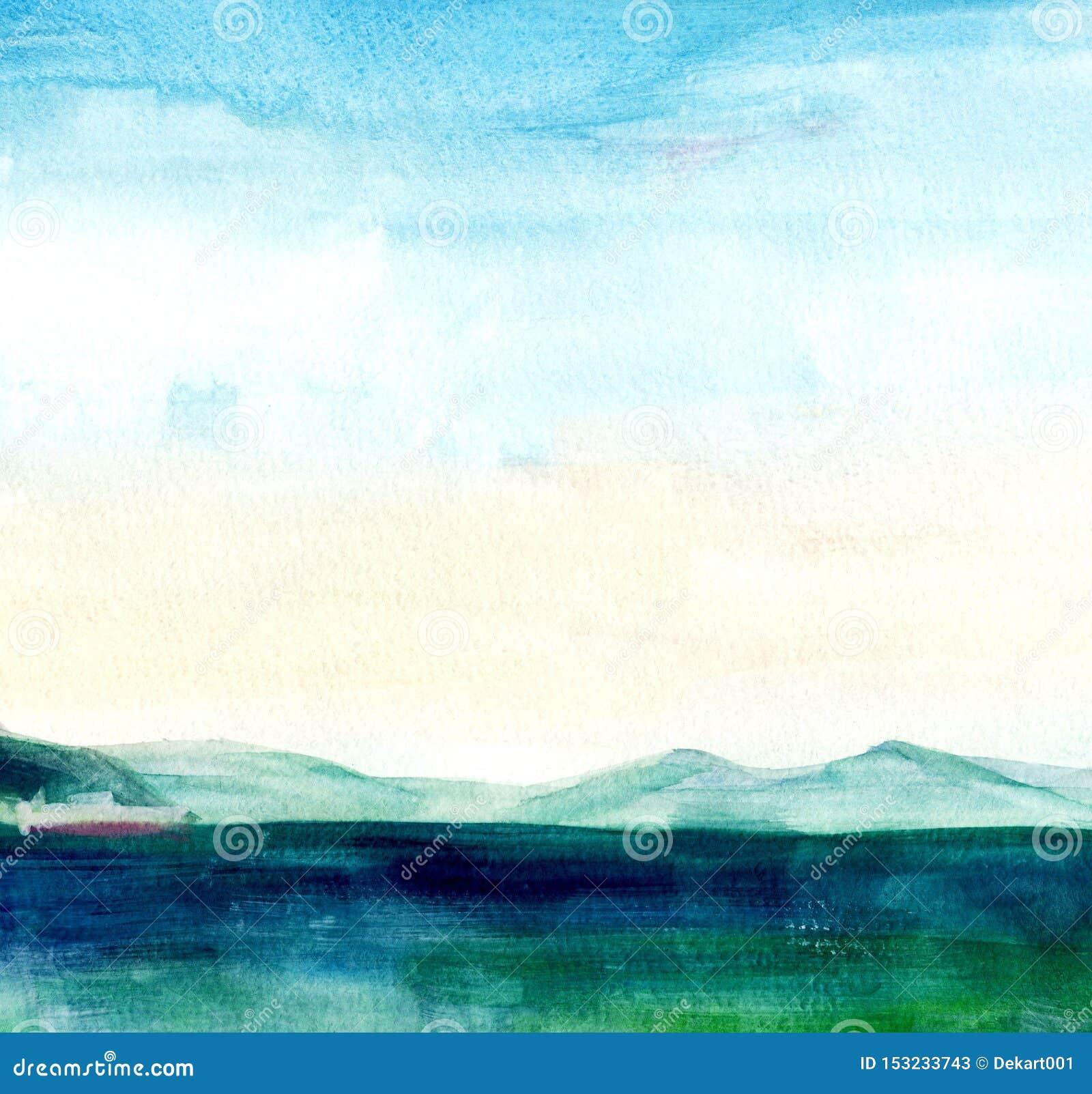 Seelandschaft, Seeseite, Strand, Berge Sch?ne Aquarellhandmalereiillustration