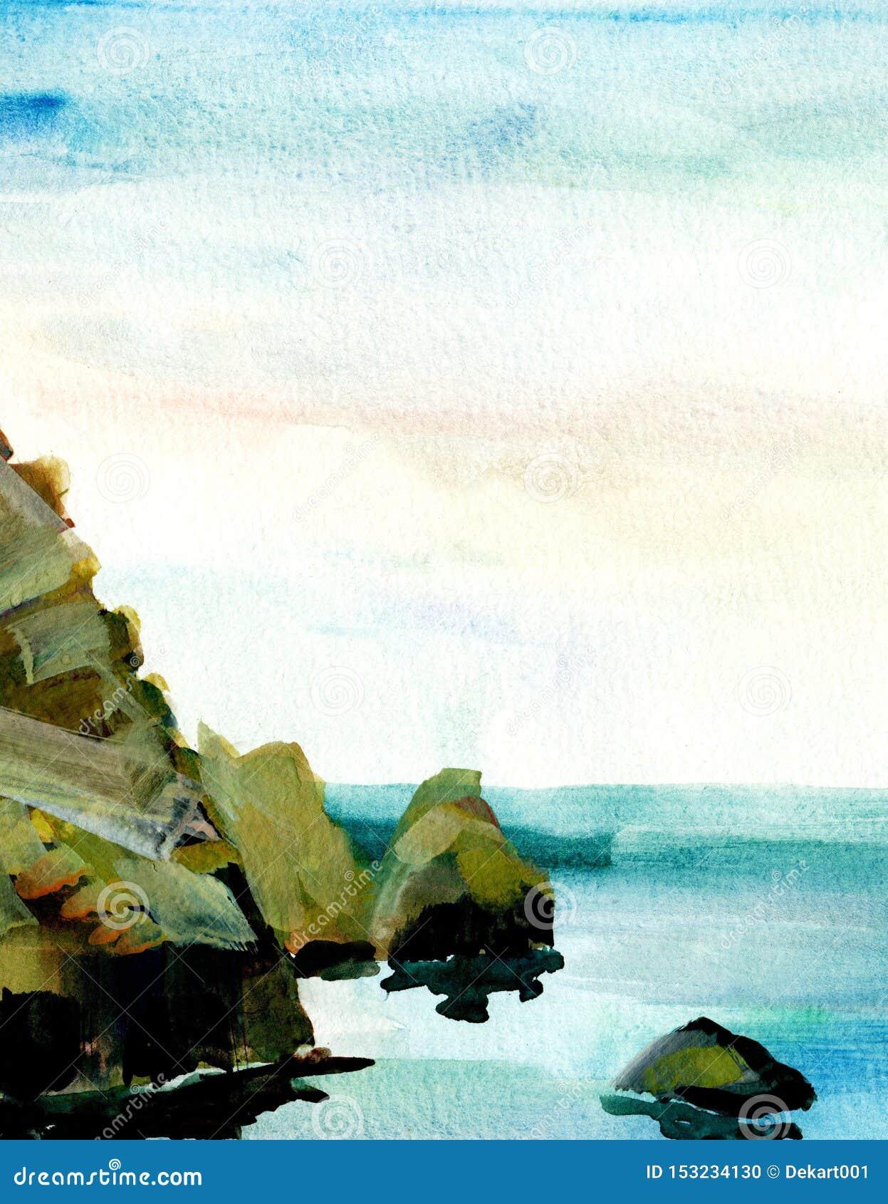 Seelandschaft, Seeseite, Strand, Felsen Sch?ne Aquarellhandmalereiillustration