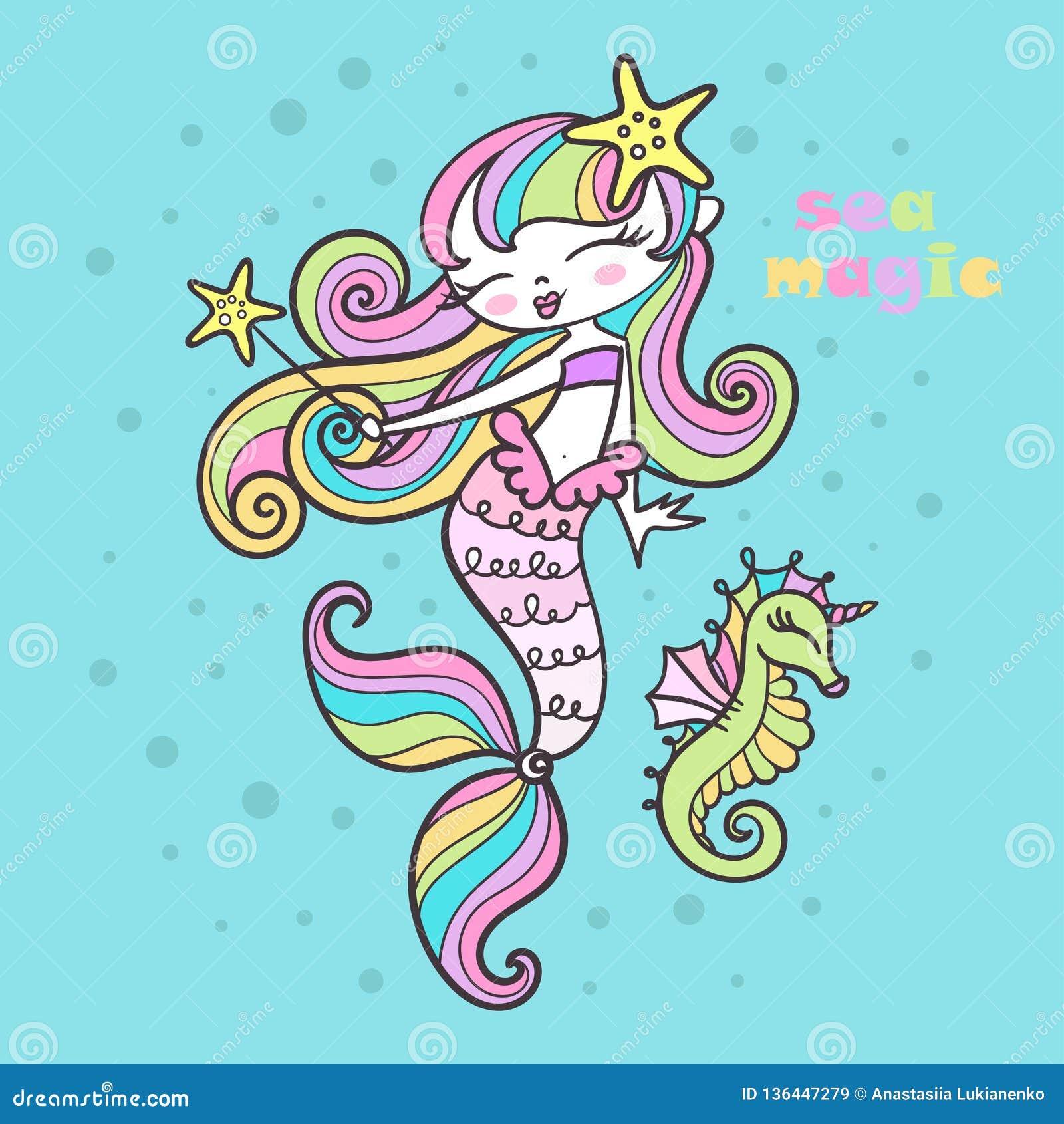 Seemagie Wenig Meerjungfrau mit einem magischen Stab und einem Seepferdchen Vektor