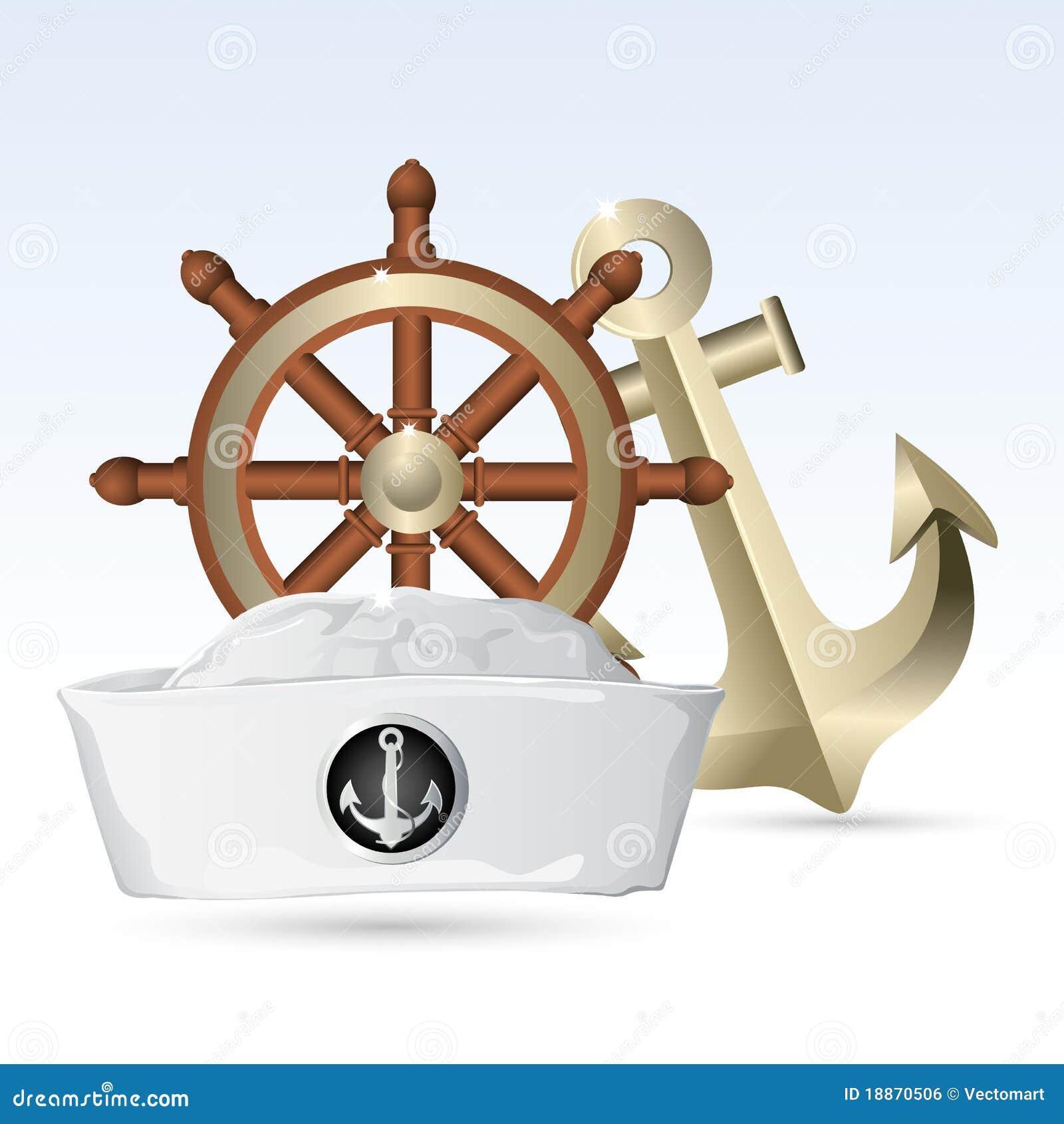 Seemann-Hut mit Lenkrad und Anker