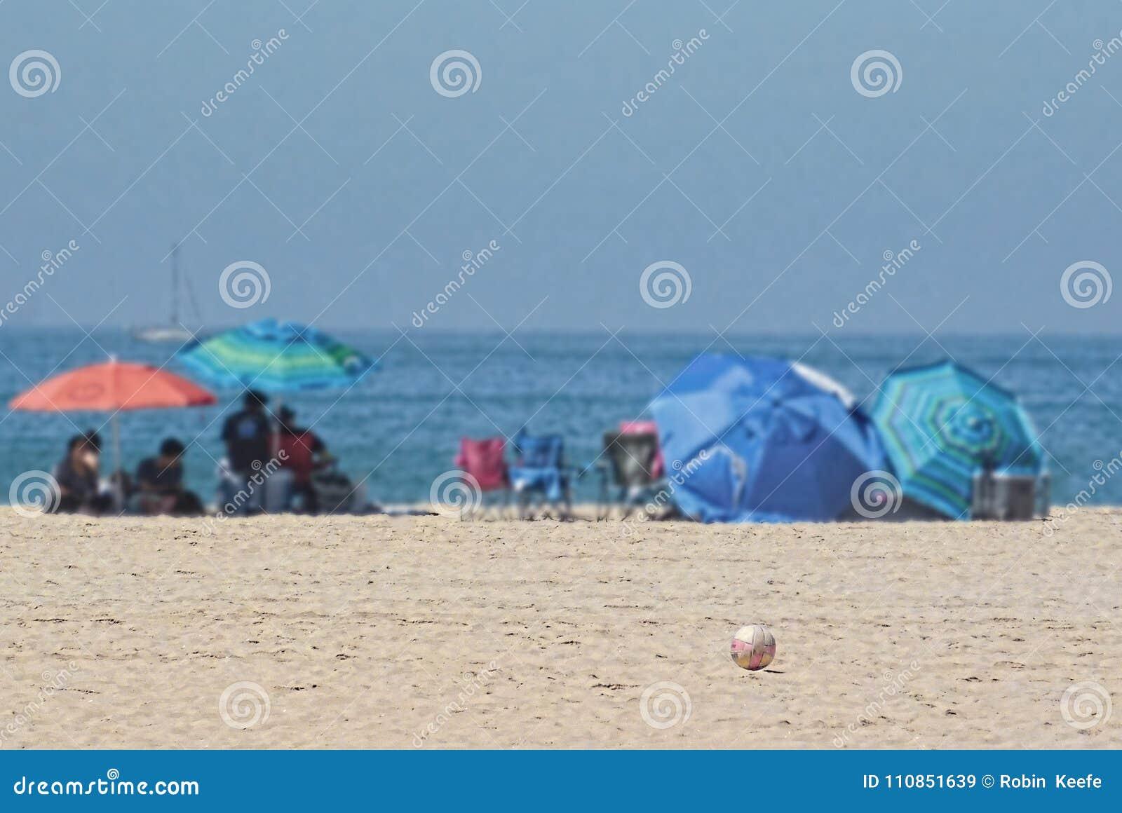 Open Beach Umbrellas Near The Ocean Stock Image - Image of ...