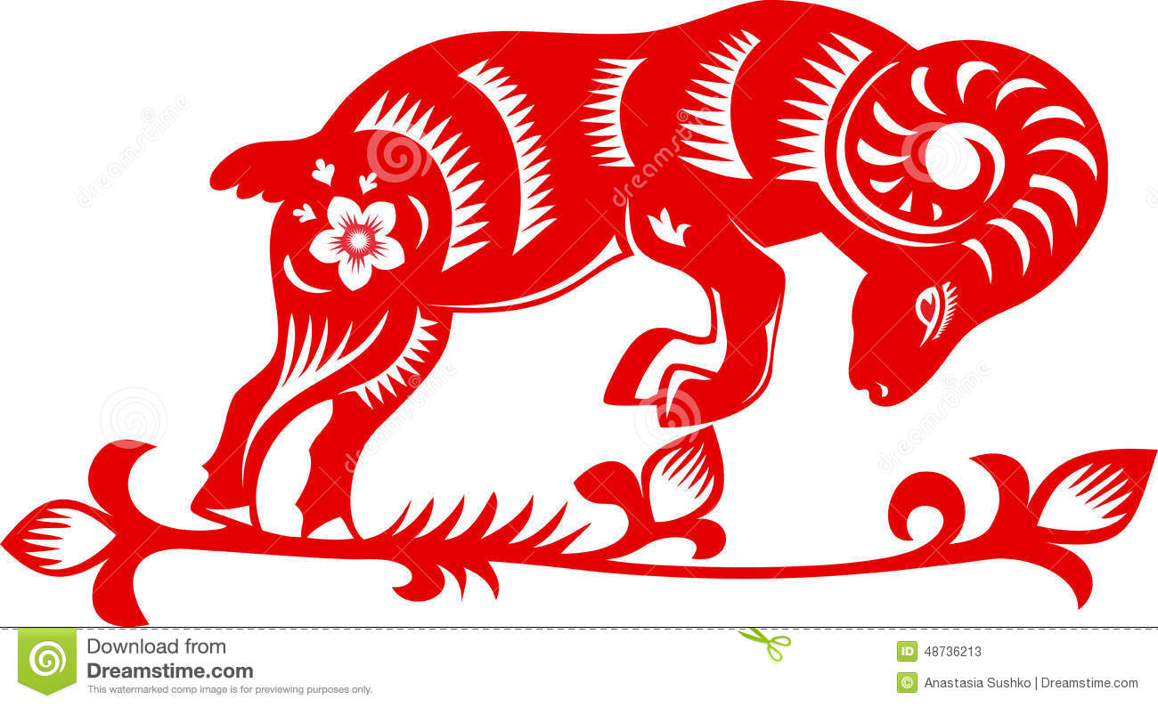 Chinese Zodiac 2015 - Year of the Sheep (Ram, Goat), traditional ...