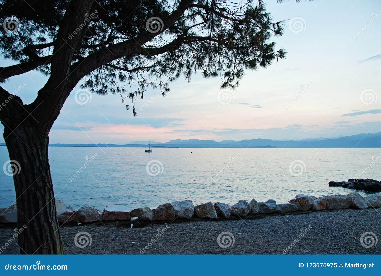 Seepromenaden-Sommerferienlandschaft an der blauen Stunde