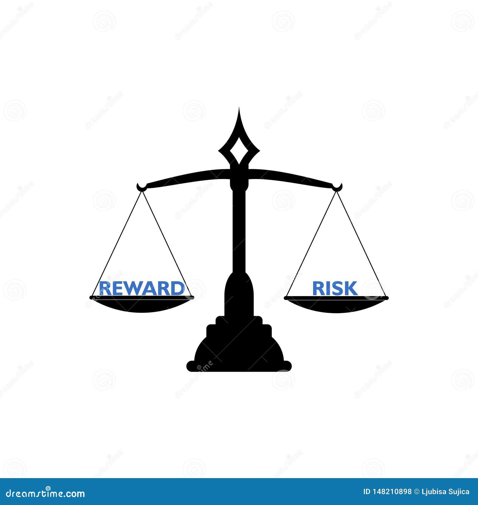 Seesaw balance between reward and risk, libra concept