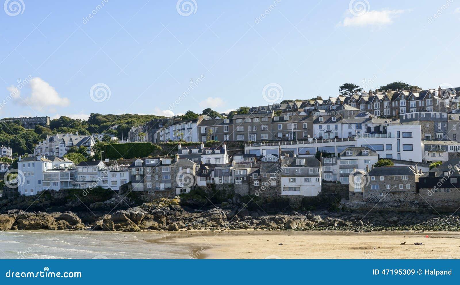 Seeseitehauser St Ives Cornwall Stockbild Bild Von Dorf