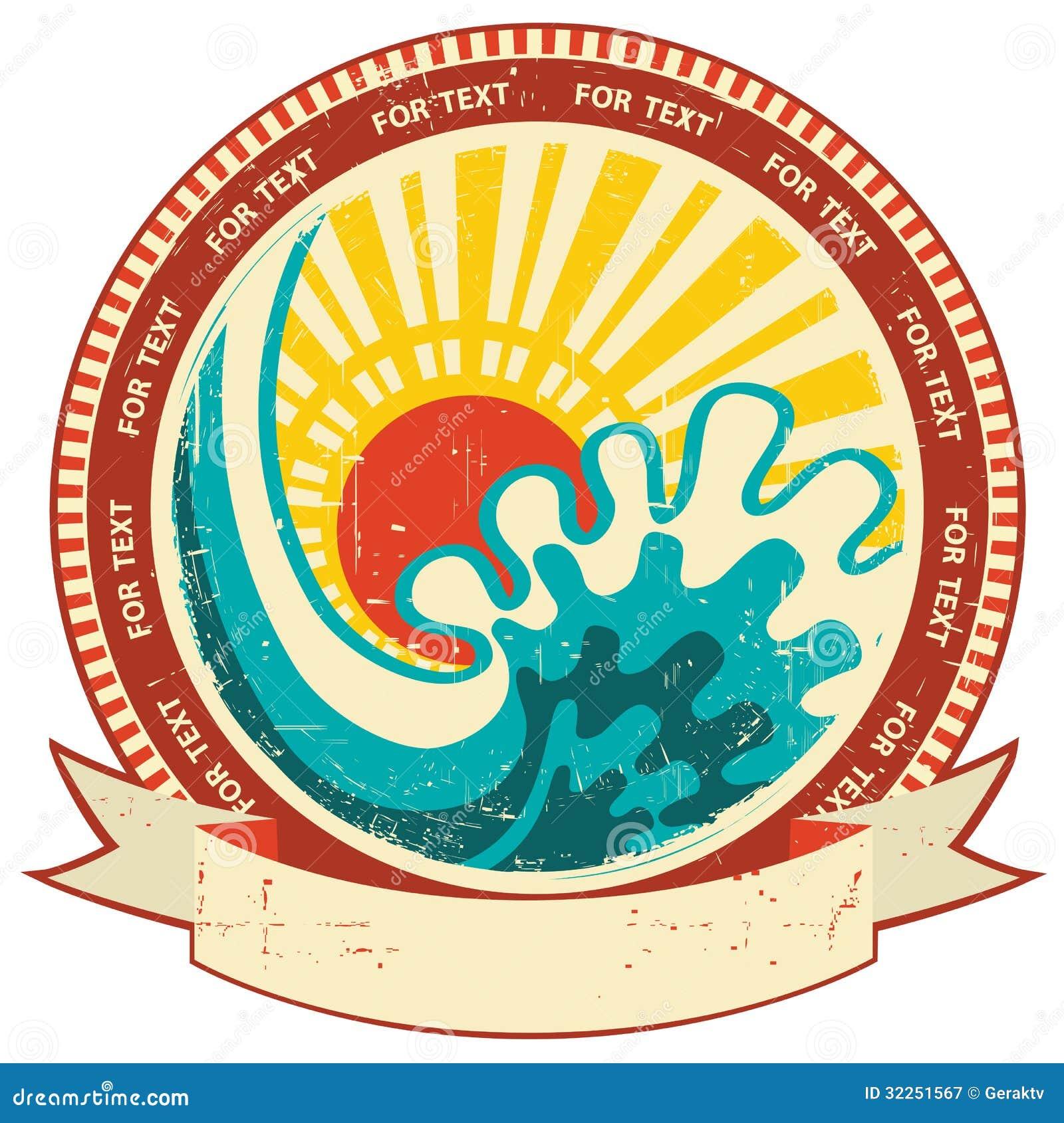 Seewelle und -sonnenlicht. Weinleseaufkleber mit Rolle FO