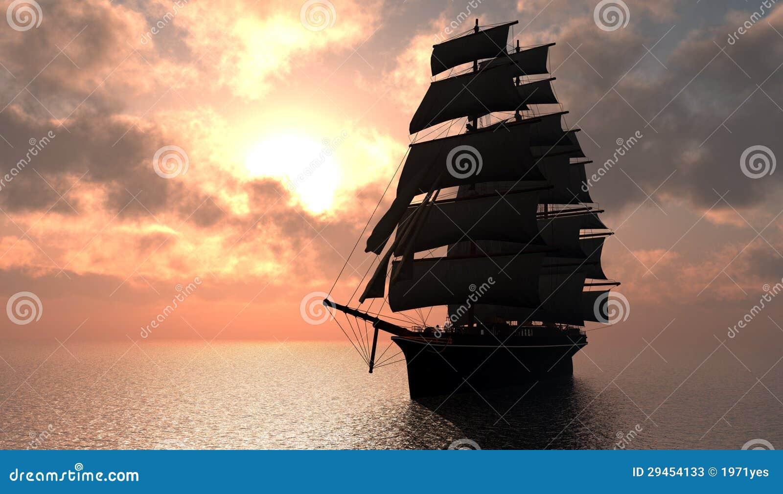 Segelbåt i havet.