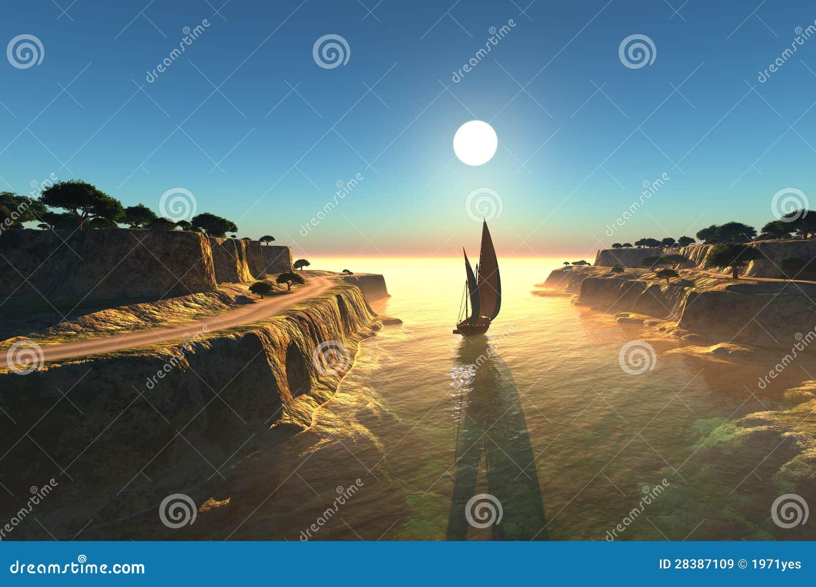Segelbåt i lagunen