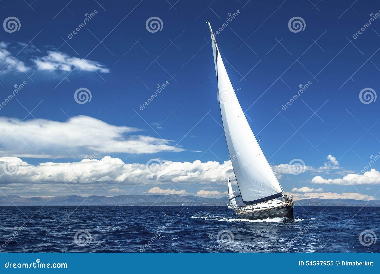 Segelbåtar deltar i seglingregatta Rader av lyxiga yachter på marinaskeppsdockan