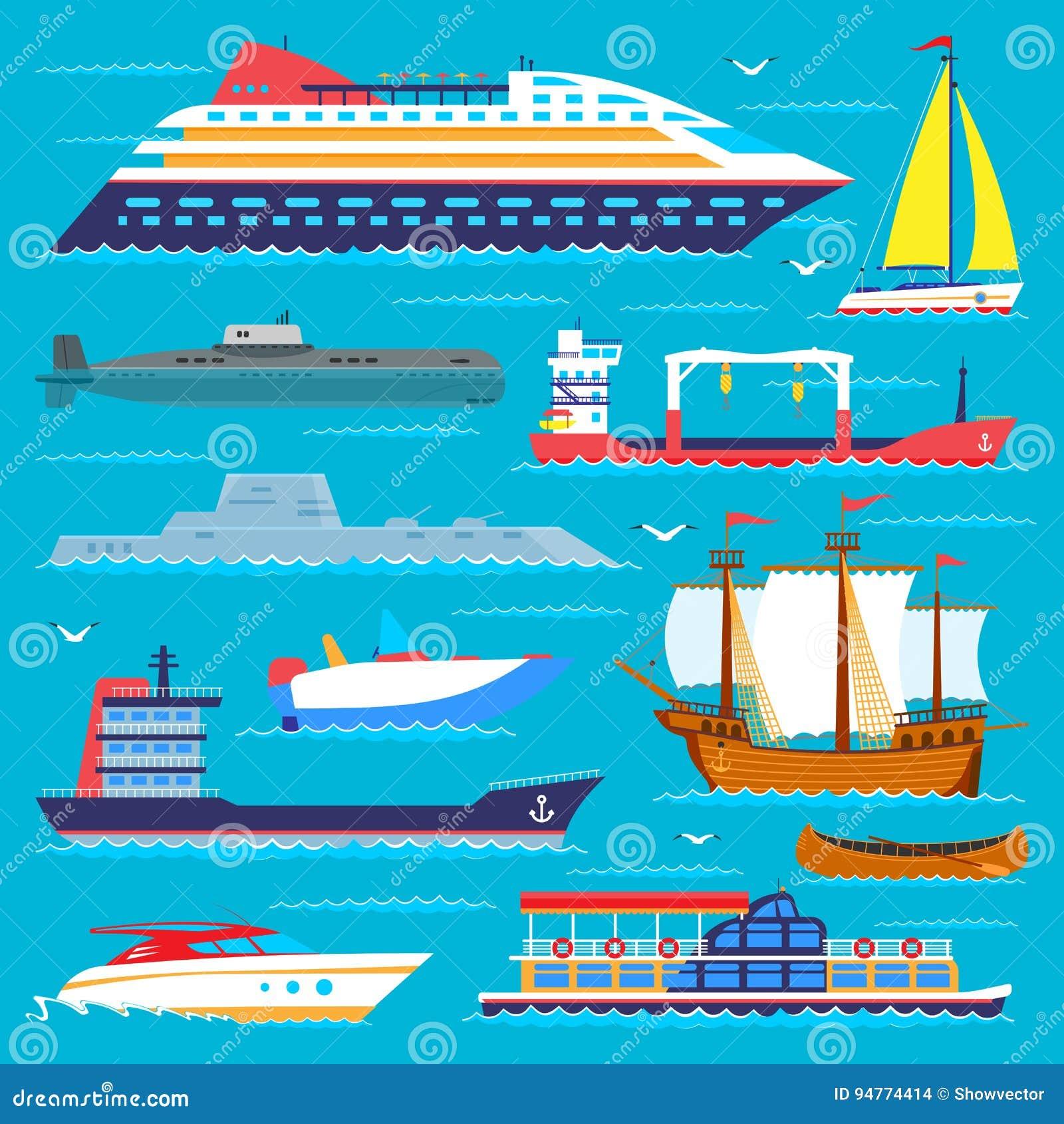 Segelbåtar för vektor för lopp för skyttel för symbol för transport för havet för skeppkryssarefartyget kryssar omkring uppsättni