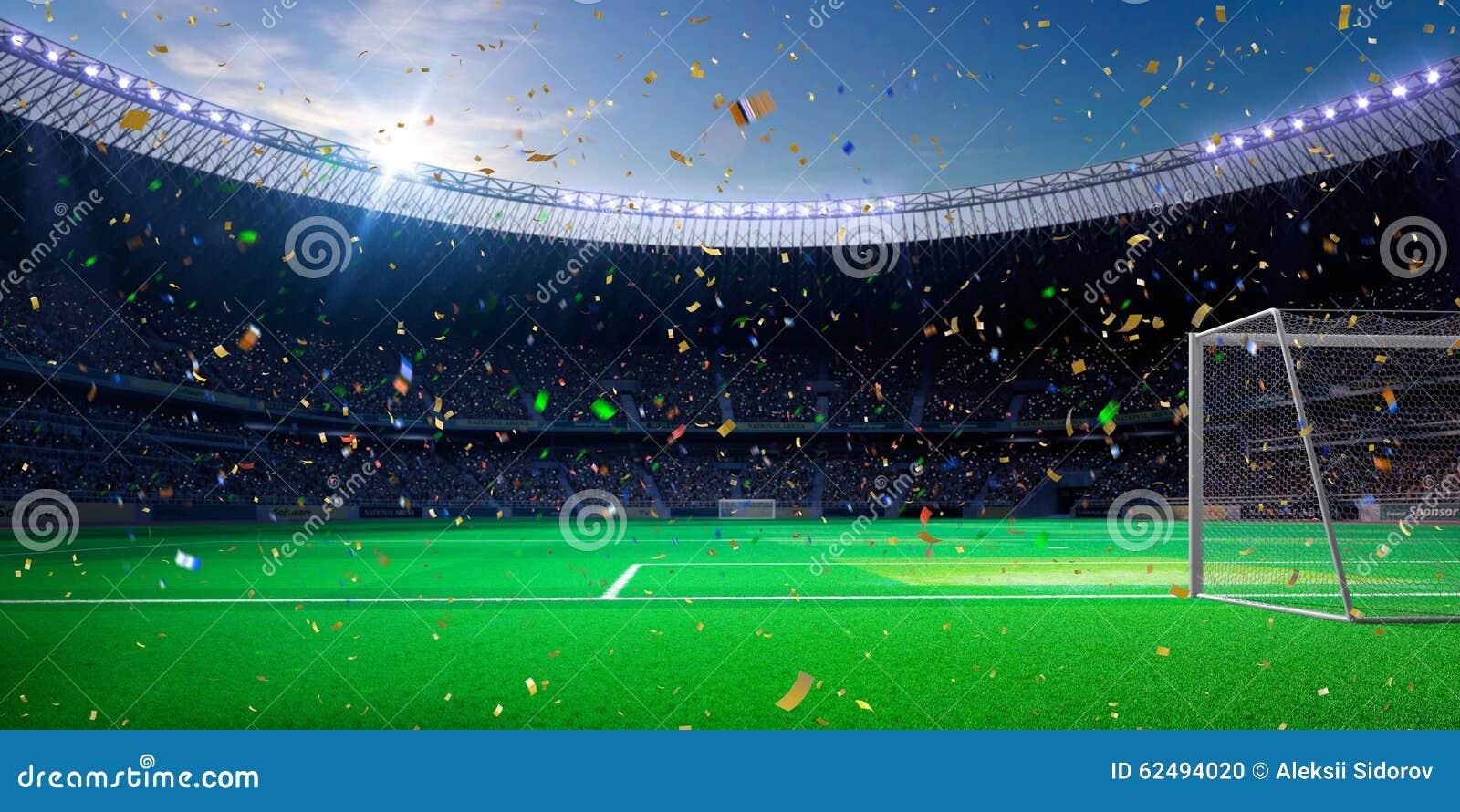 Seger för mästerskap för fält för fotboll för nattstadionarena Blå toning