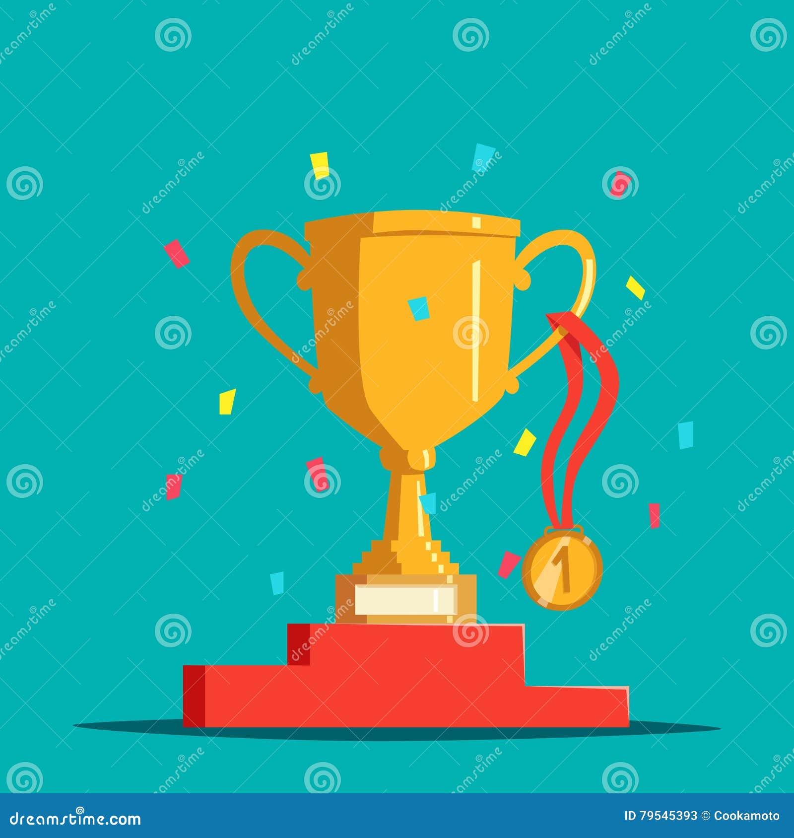 Segerutmärkelsebunke eller kopp, medalj och sockel, konfetti Trofé eller bägare, guld- medaljong och grund eller ställning May at
