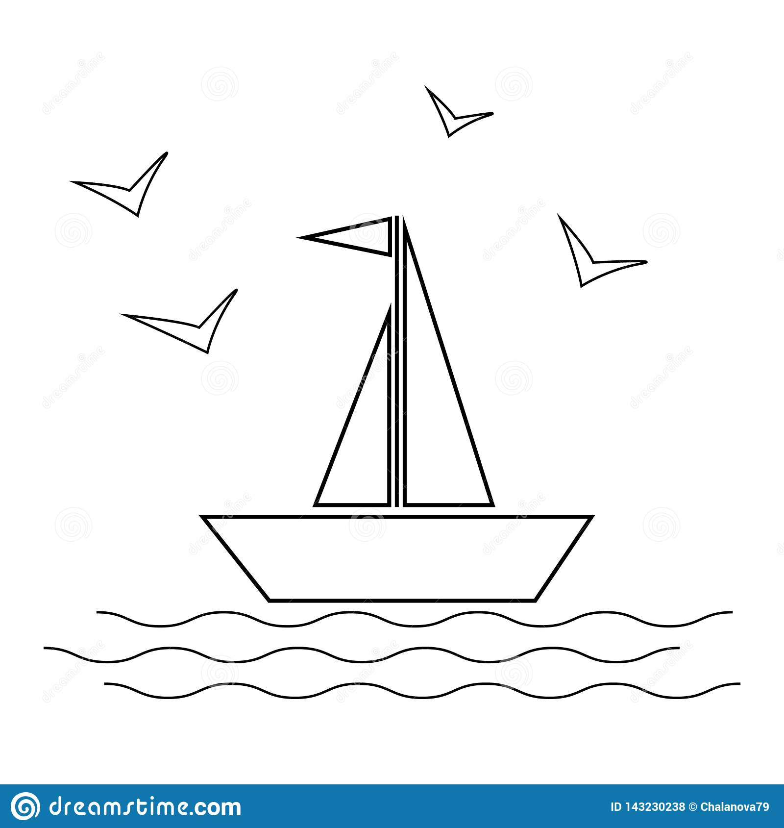 Seglingskepp med vågor och illustration för fiskmåssymbolsvektor på vit bakgrund linje stil