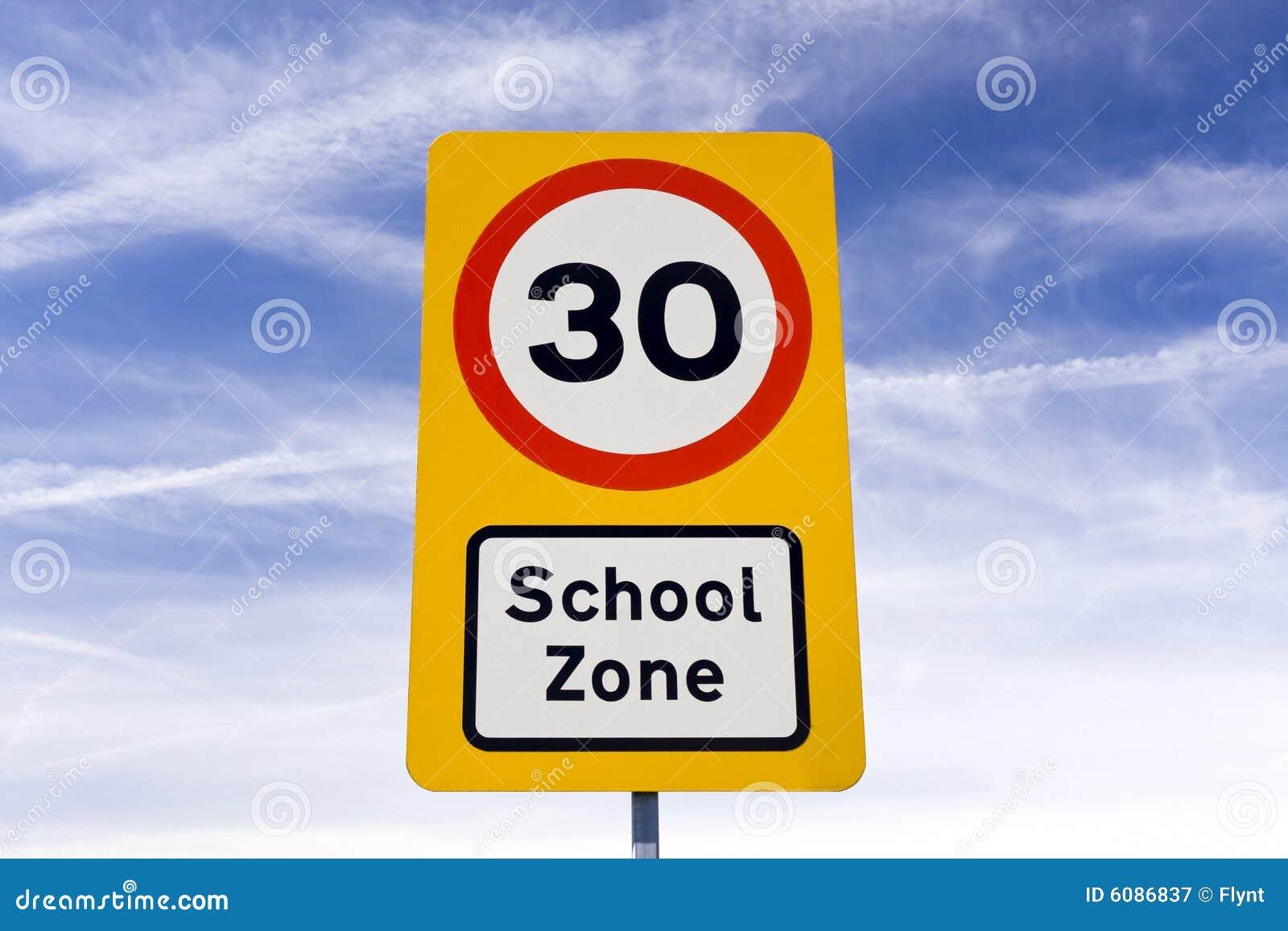 Citaten School Zone : Segnale di pericolo zona del banco immagine stock