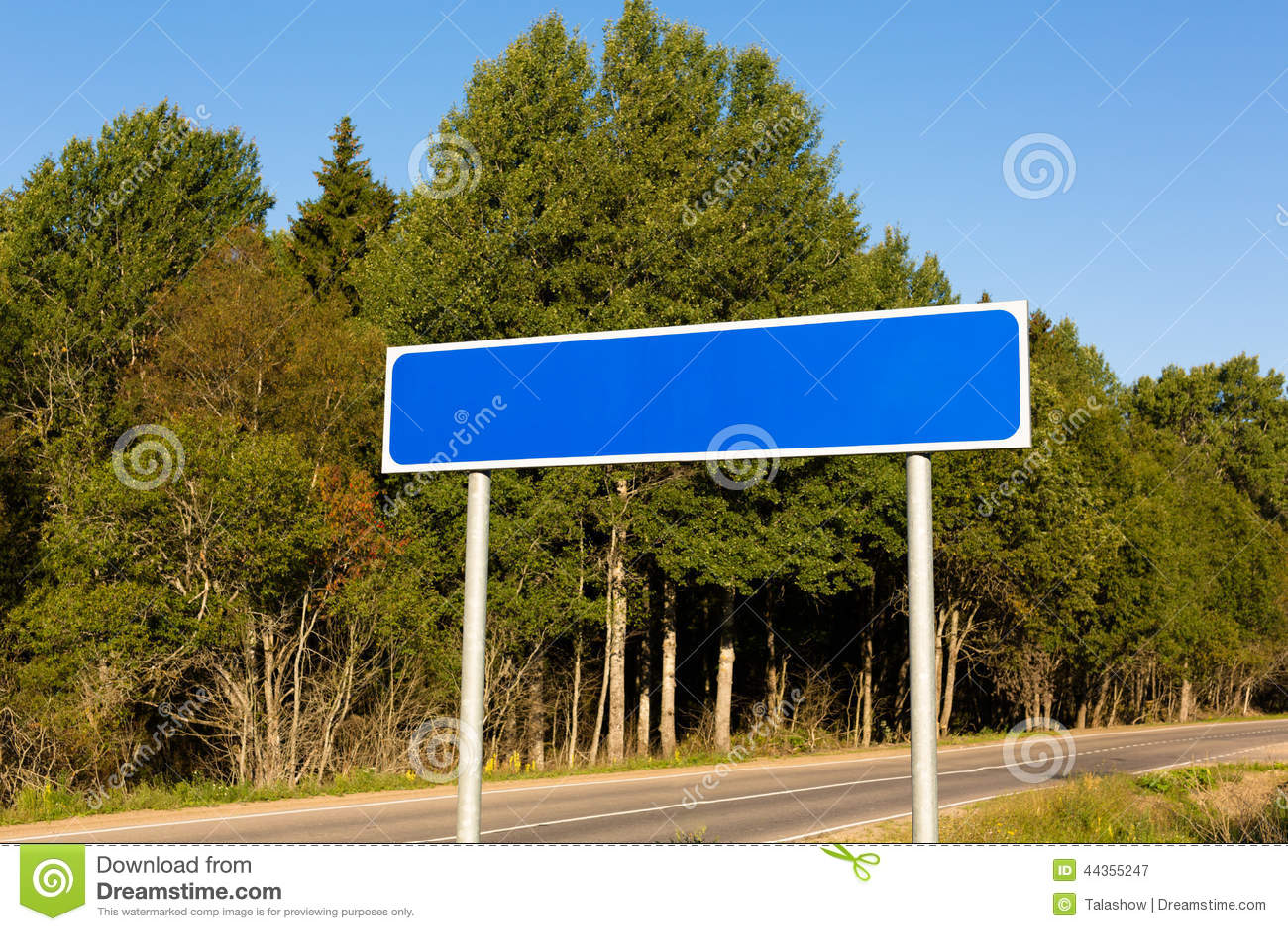 Segnale stradale blu in bianco