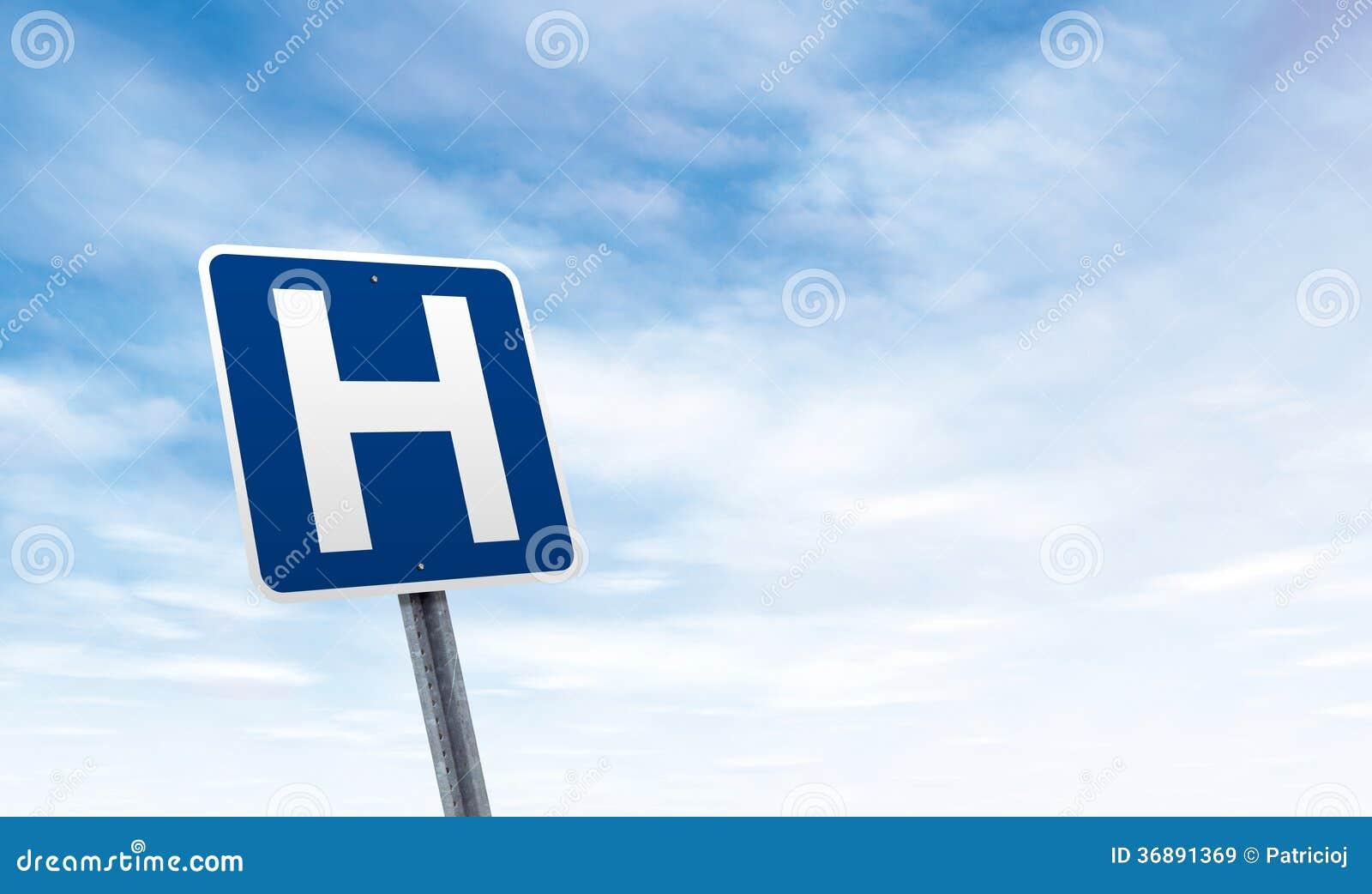 Download Segnale Stradale Dell'ospedale Con Lo Spazio Della Copia Del Cielo Immagine Stock - Immagine di vendita, idee: 36891369