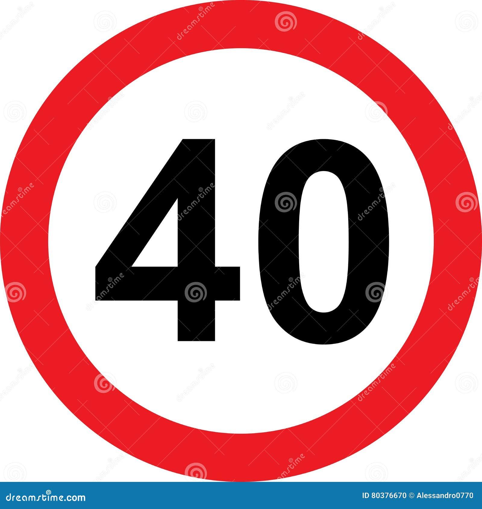 Segnale stradale di limitazione di 40 velocità