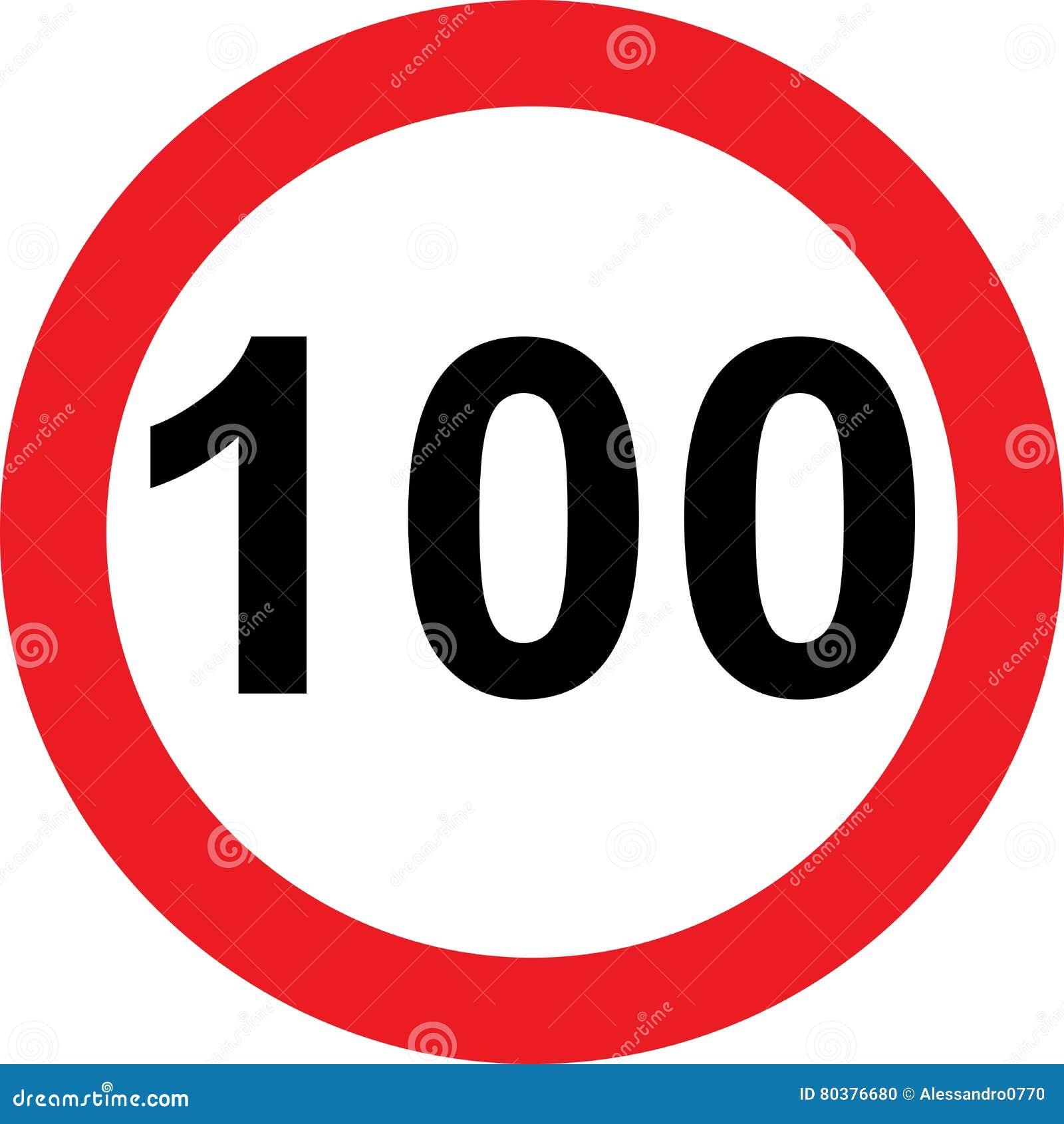 Segnale stradale di limitazione di 100 velocità