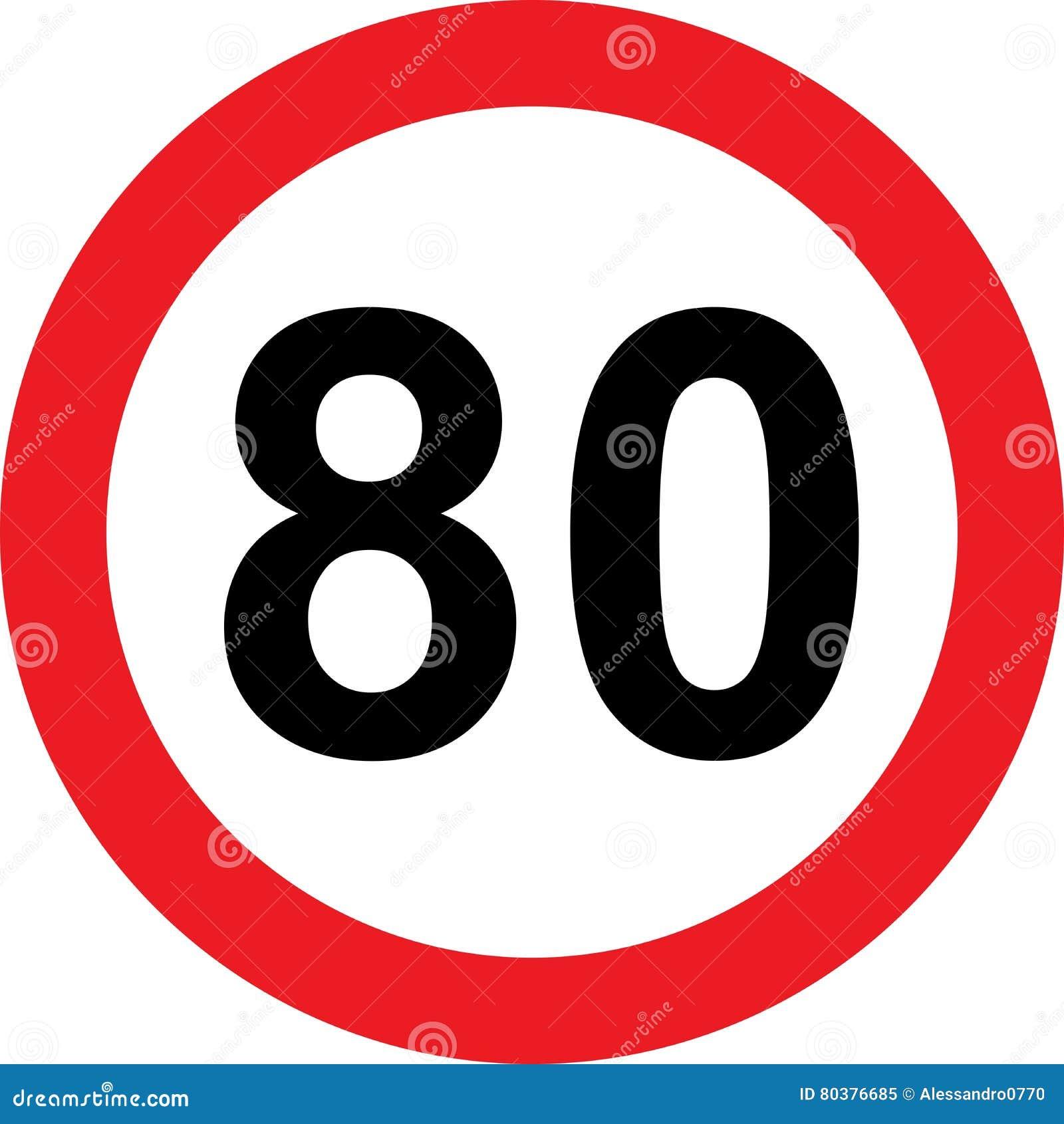 Segnale stradale di limitazione di 80 velocità