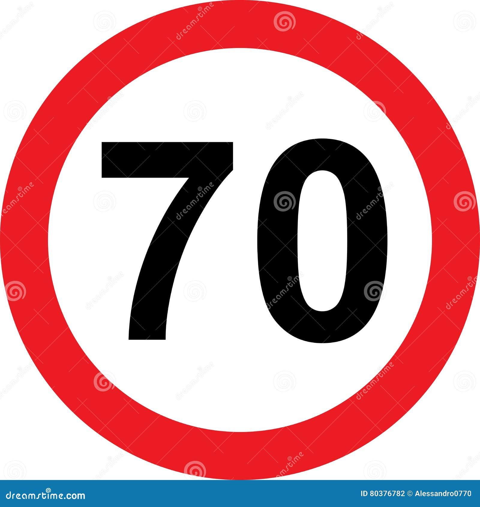 Segnale stradale di limitazione di 70 velocità